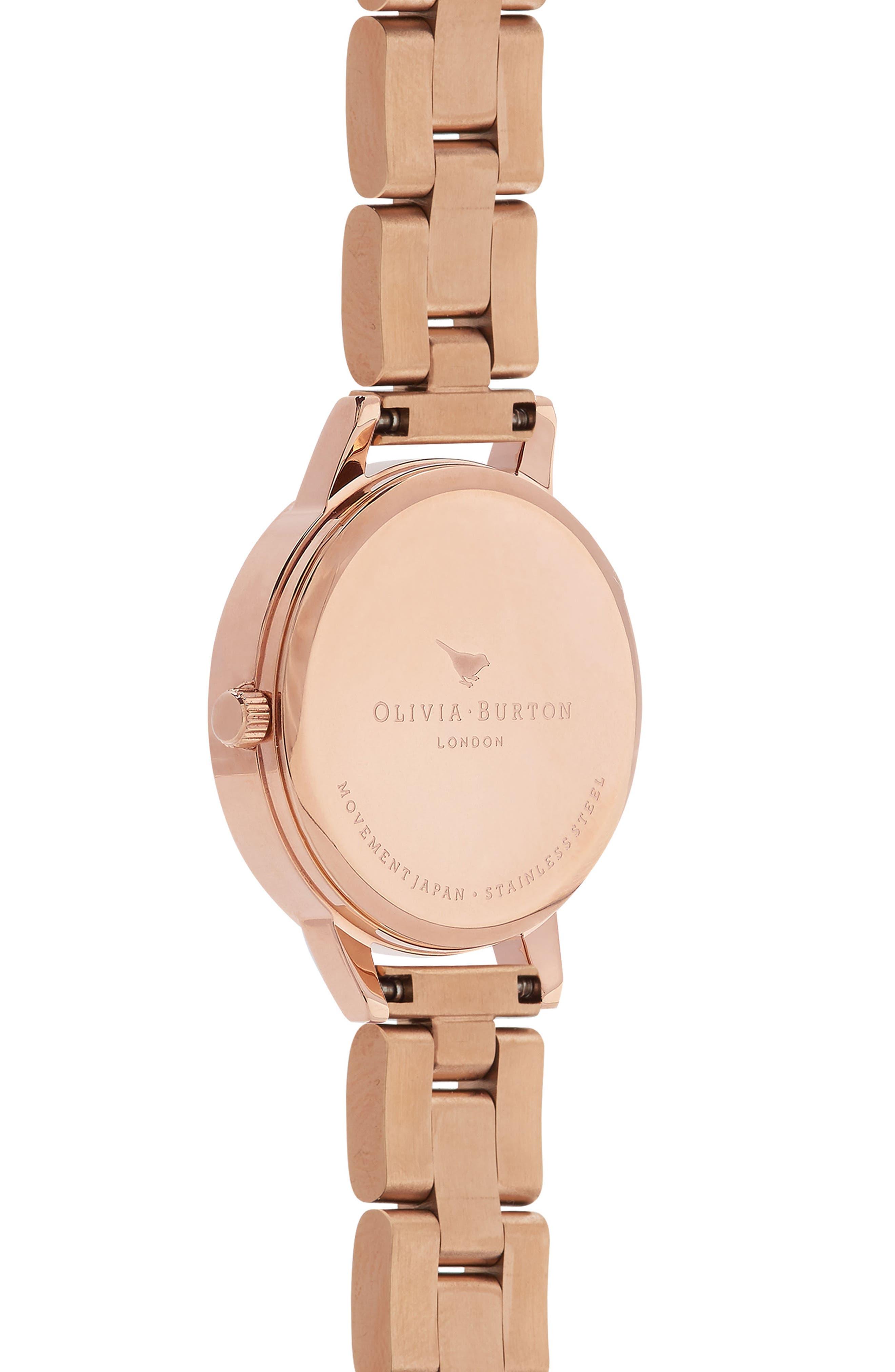 Bejewelled Floral Bracelet Watch, 30mm,                             Alternate thumbnail 2, color,                             ROSE GOLD