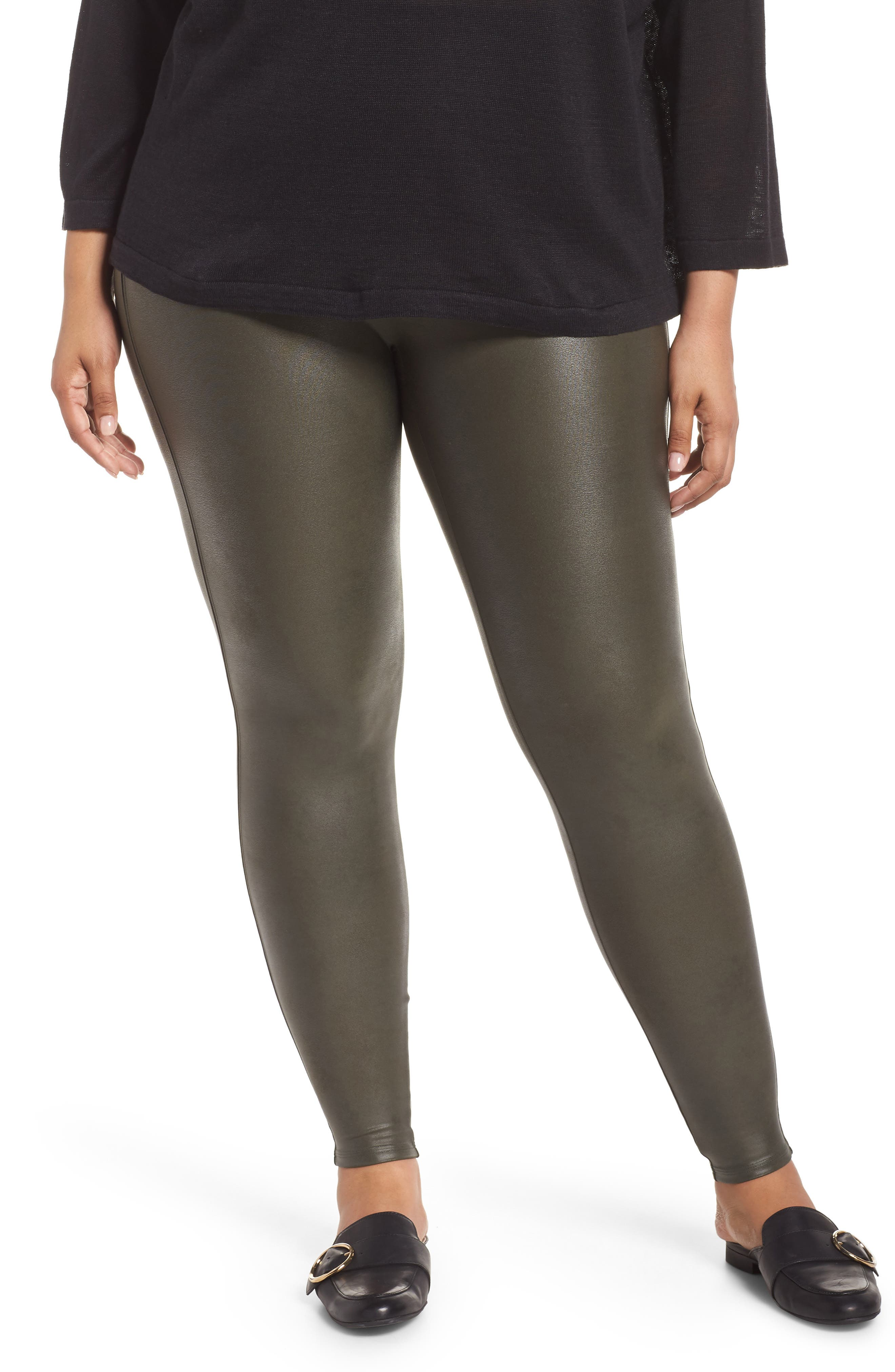 Faux Leather Leggings,                         Main,                         color, DEEP OLIVE