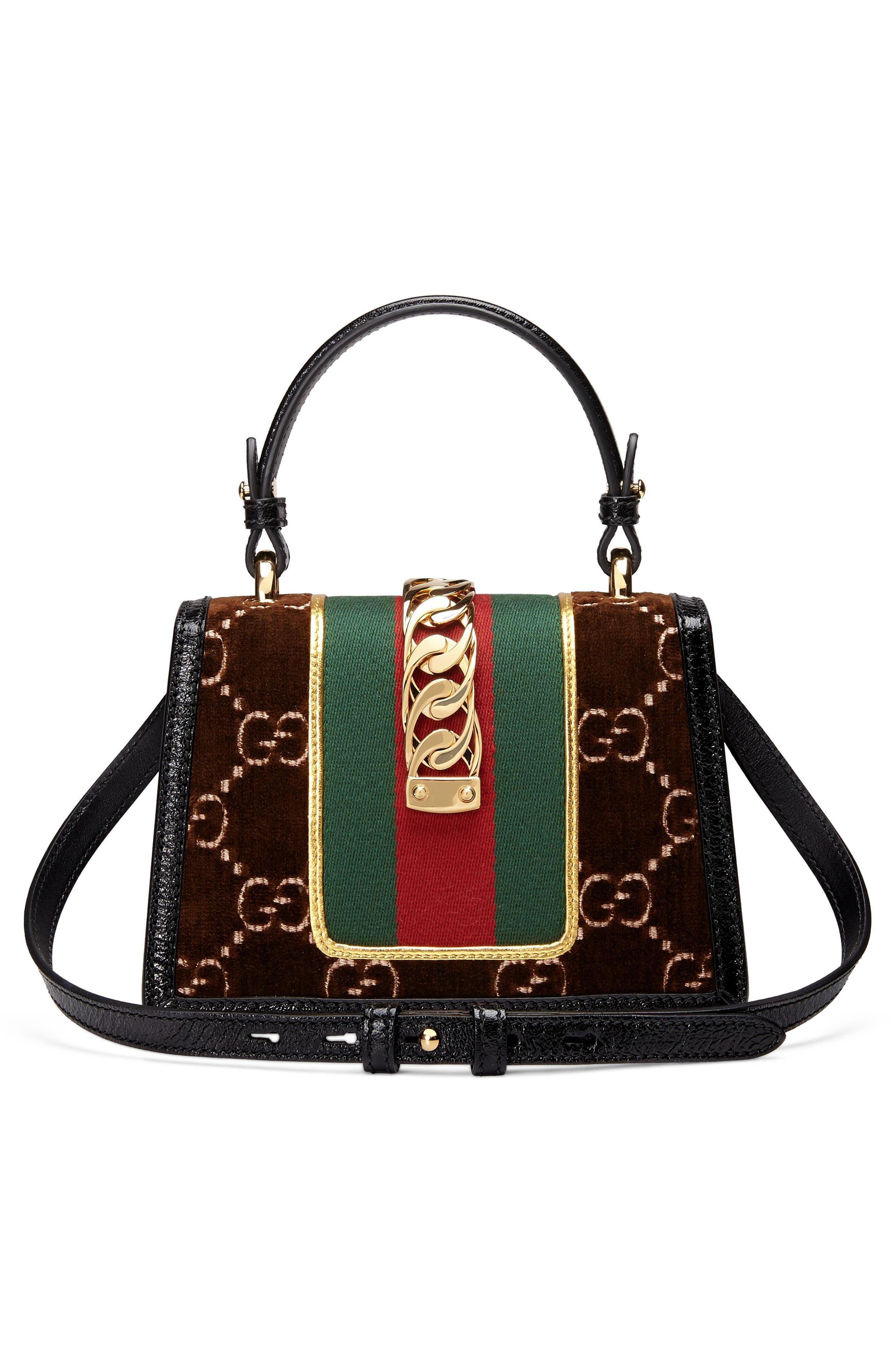 Mini Sylvie Velvet Top Handle Bag,                             Alternate thumbnail 3, color,                             BROWN/ NERO/ VERT RED VERT