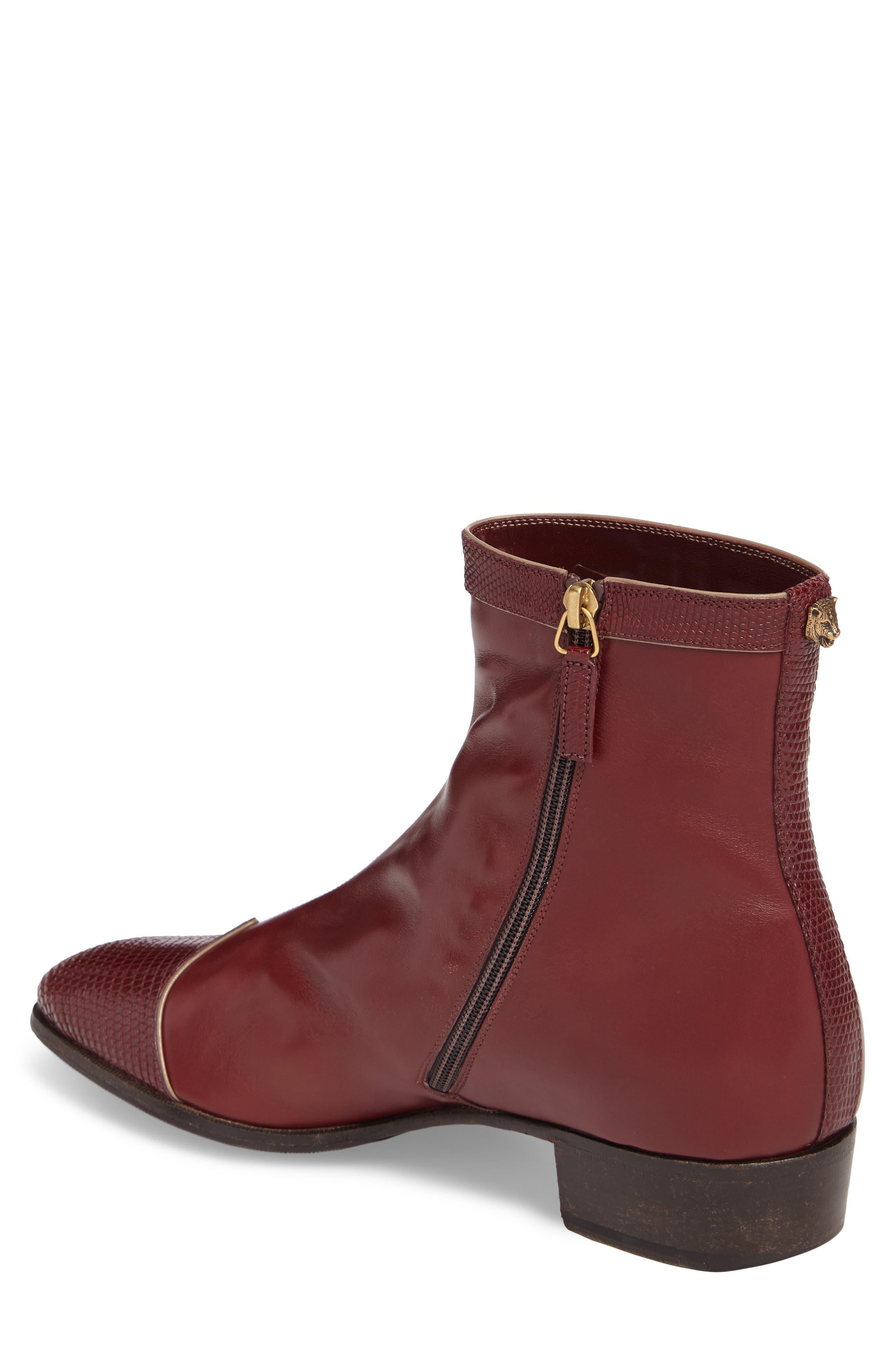 Dragon Leather Boot,                             Alternate thumbnail 2, color,                             BORDEAUX