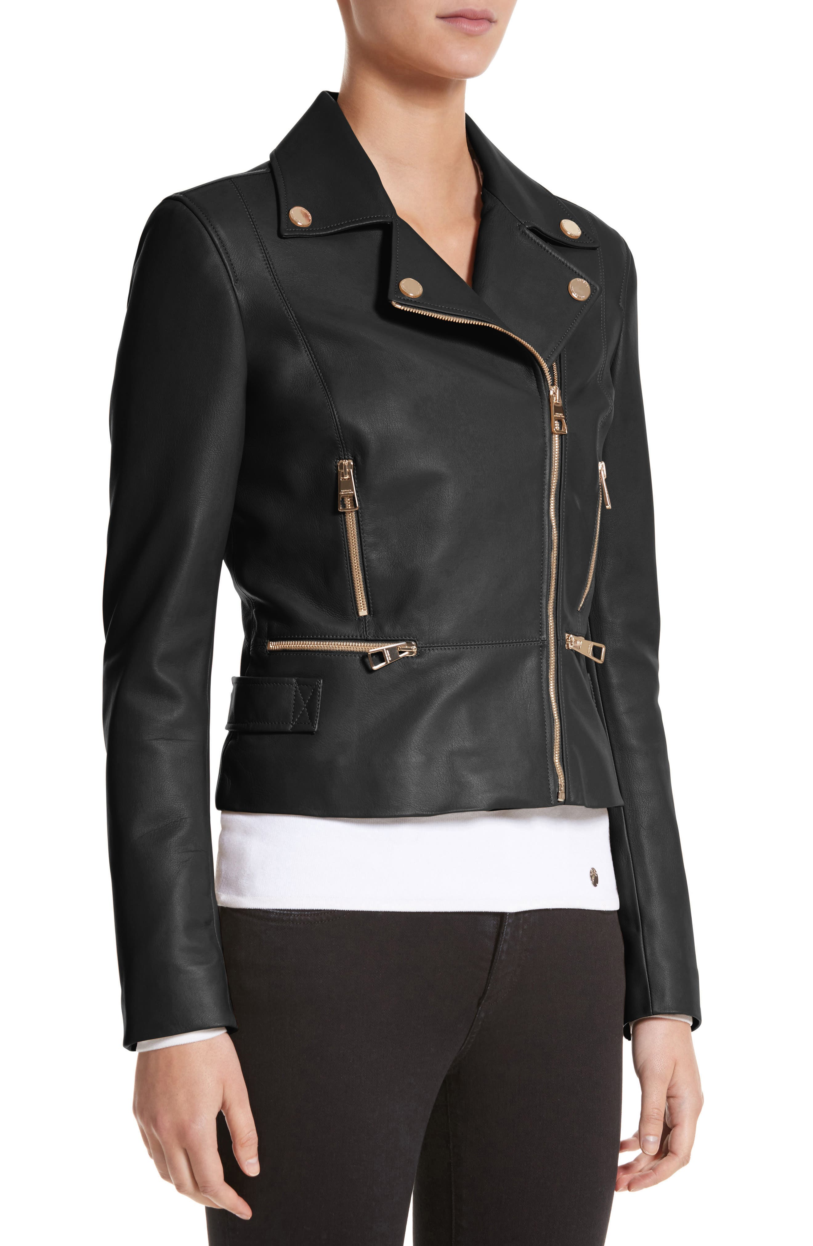 Nappa Leather Jacket,                             Alternate thumbnail 4, color,                             001