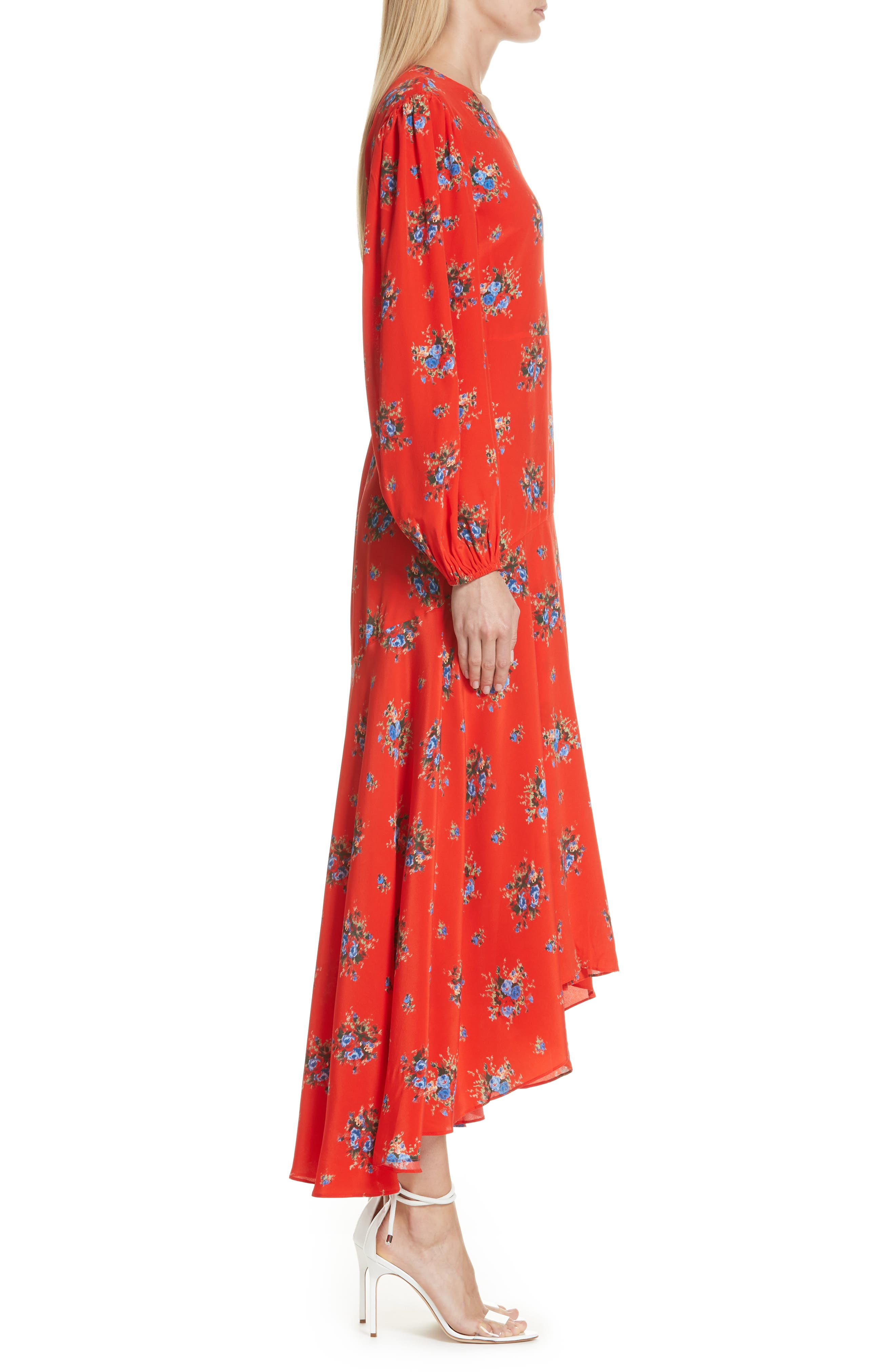 Floral Silk Wrap Dress,                             Alternate thumbnail 3, color,                             FIERY RED