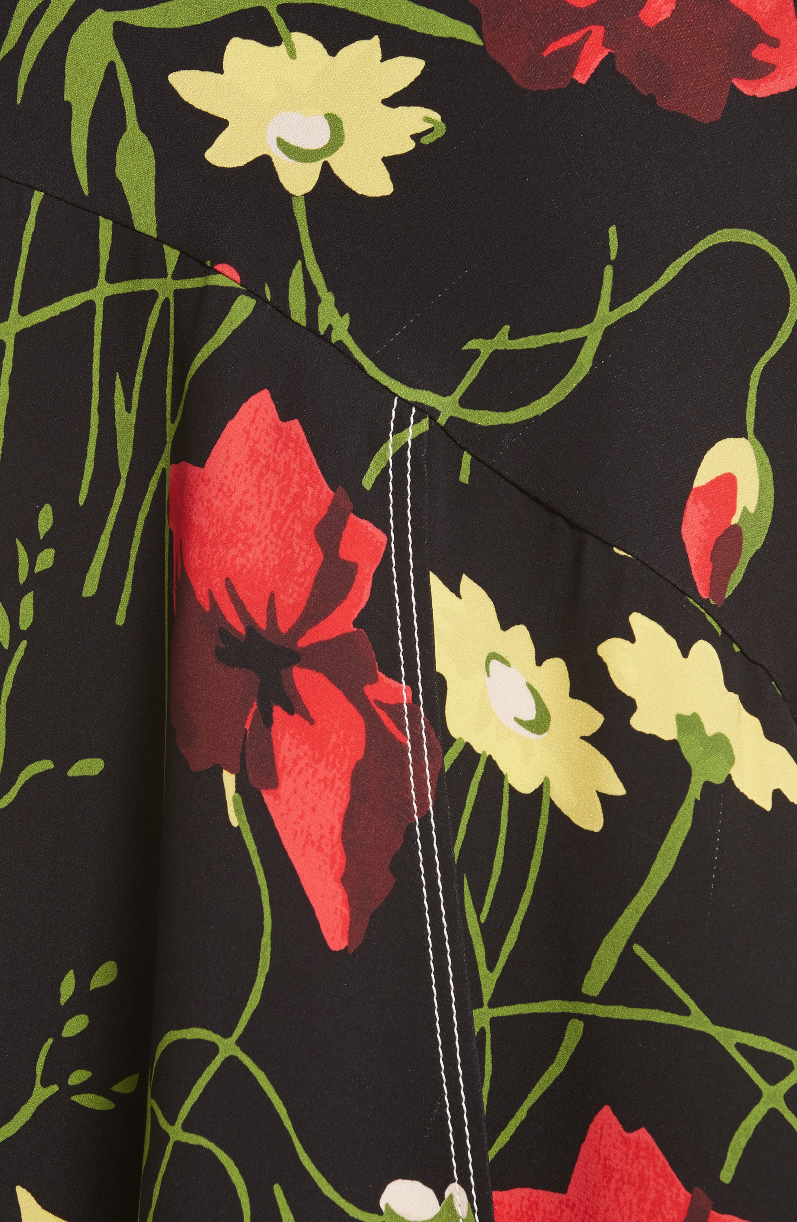 Floral Print Silk Skirt,                             Alternate thumbnail 5, color,                             001