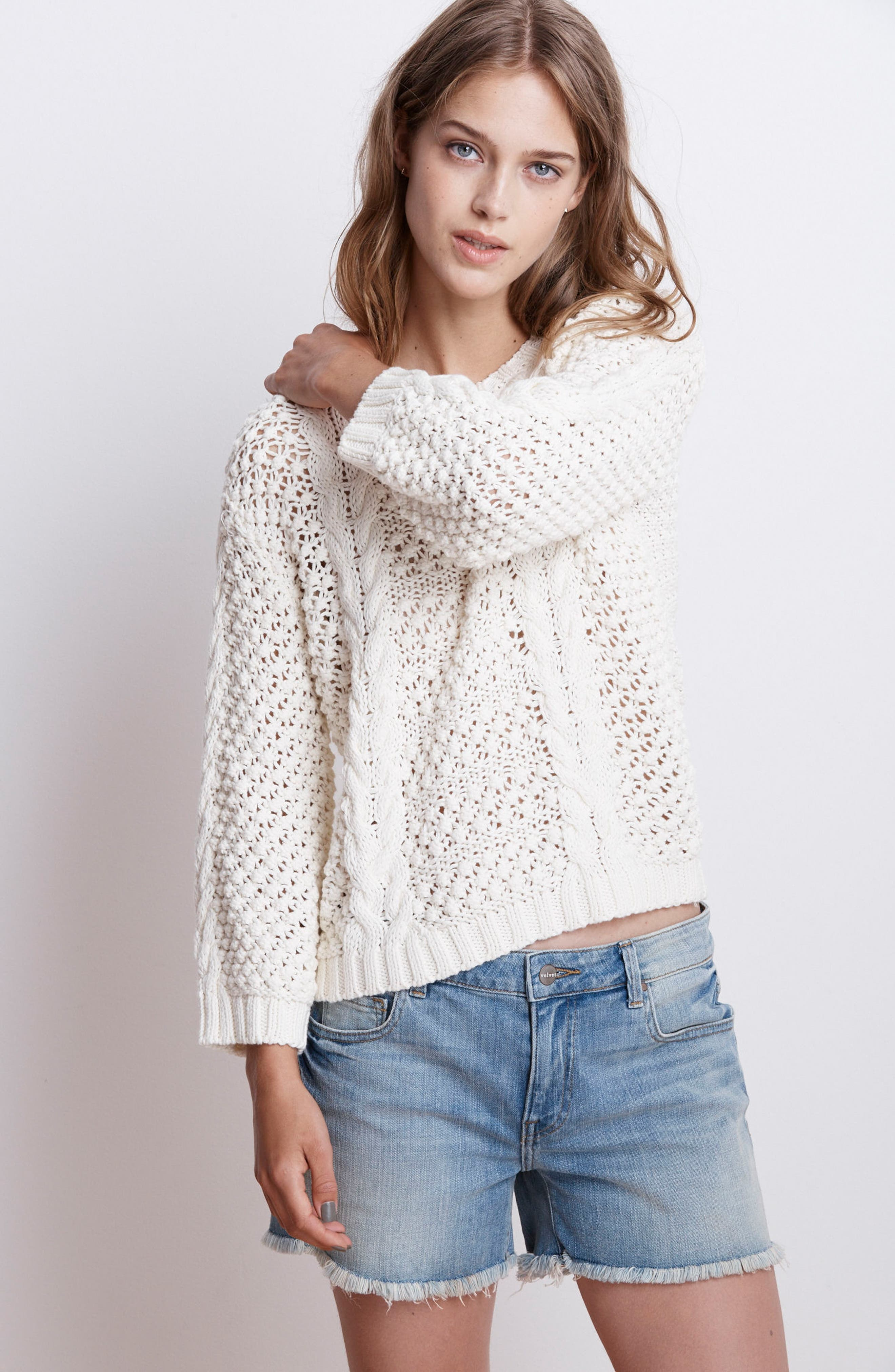 Popcorn Cable Sweater,                             Alternate thumbnail 7, color,                             905
