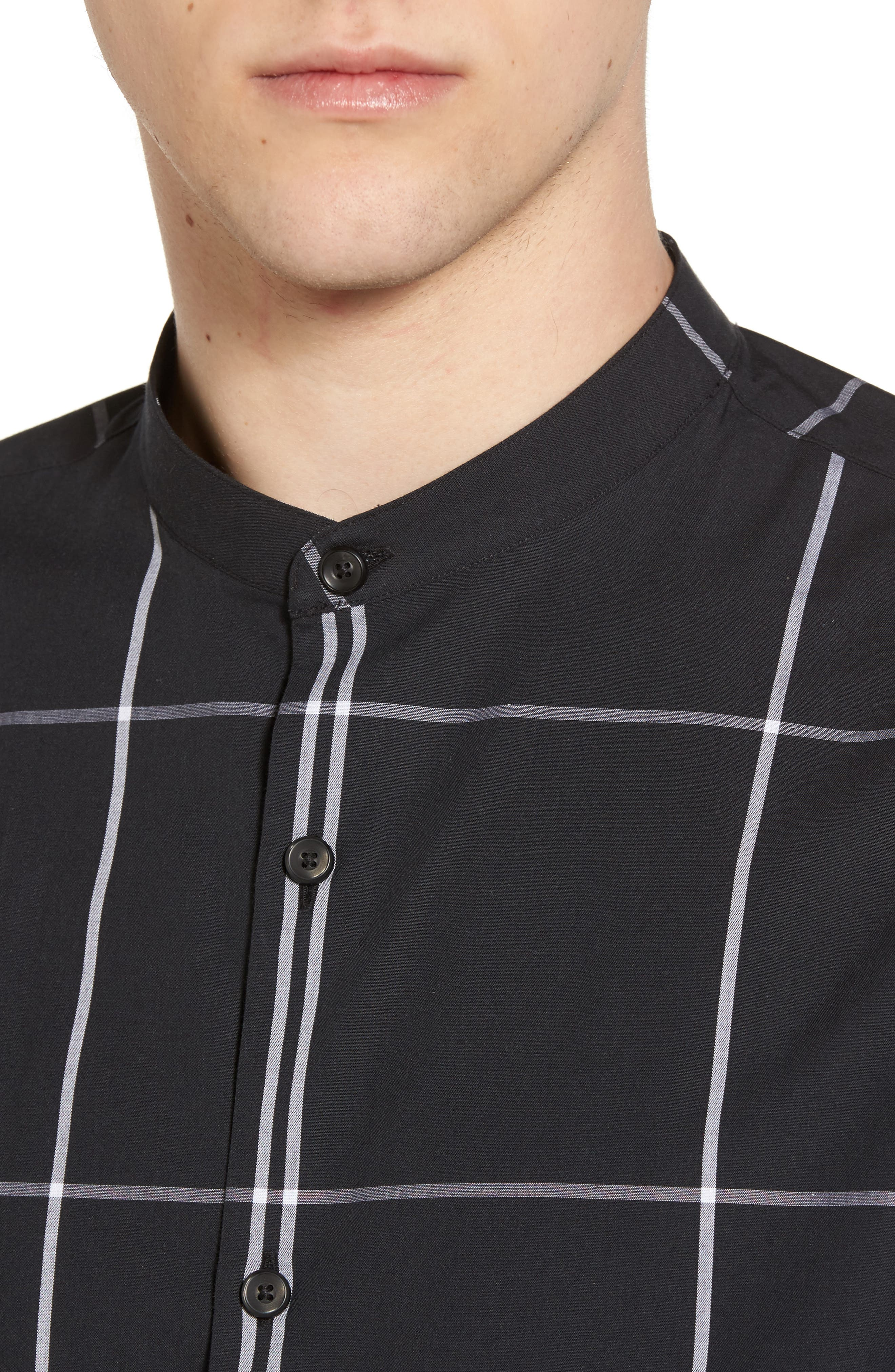 Trim Fit Windowpane Sport Shirt,                             Alternate thumbnail 4, color,