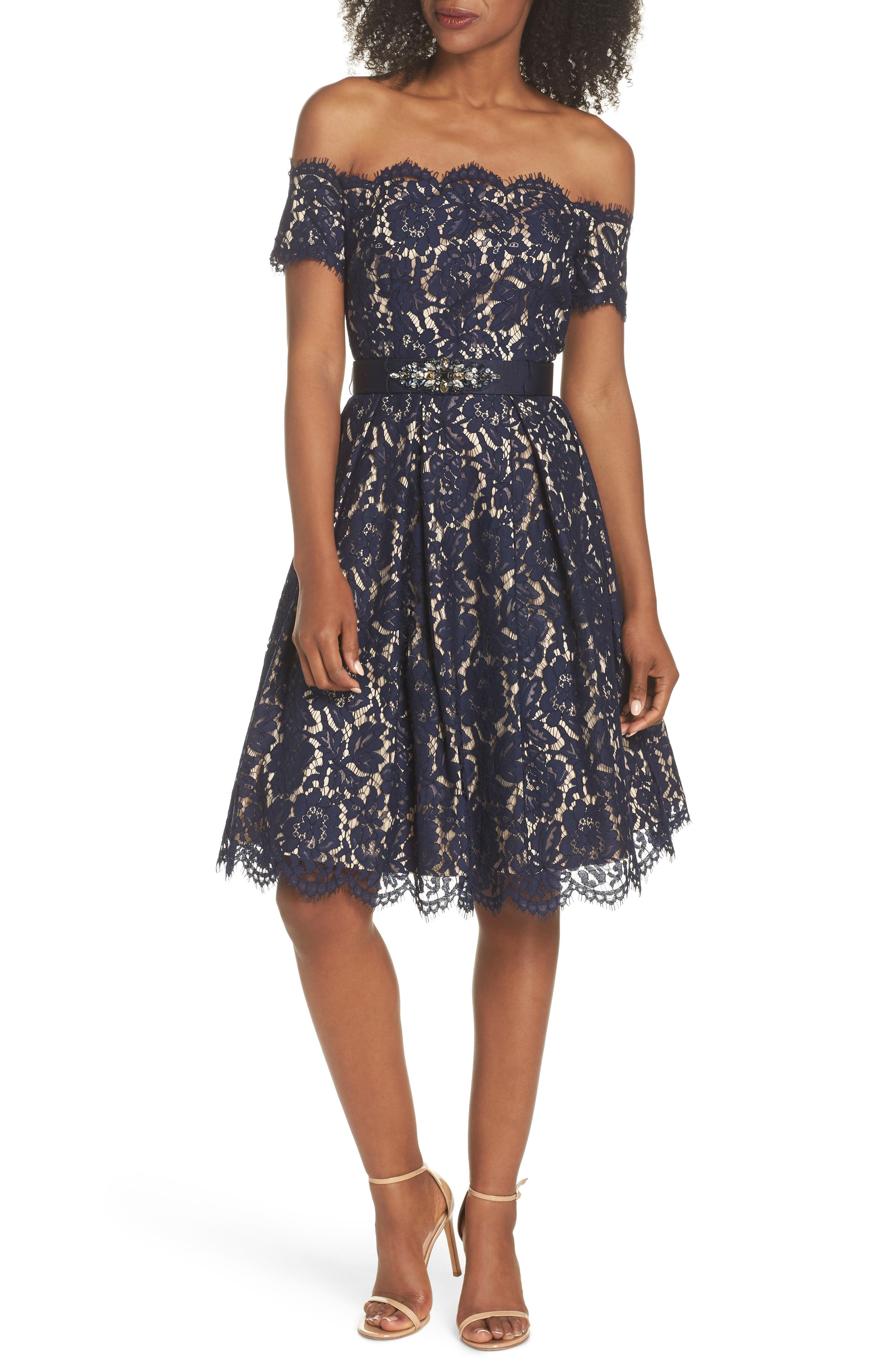 Embellished Lace Fit & Flare Dress,                             Main thumbnail 1, color,                             NAVY