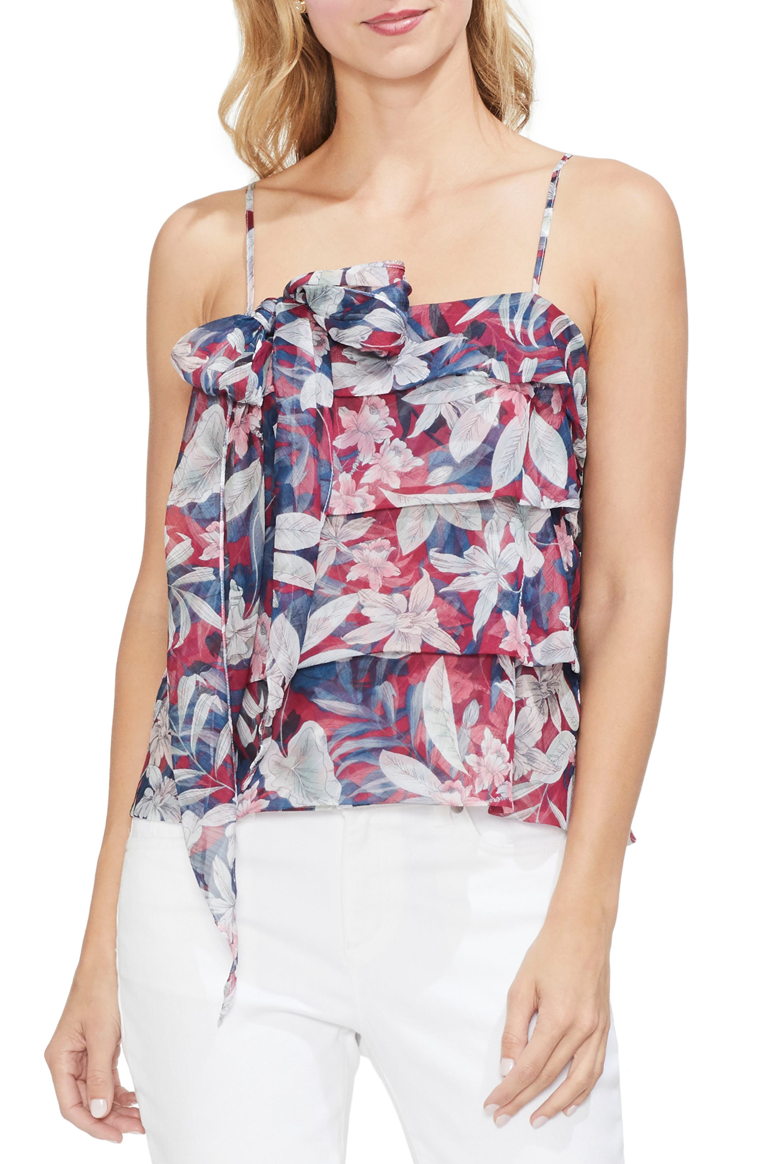 Vince Camuto Tropical Escape Tiered Camisole, Red