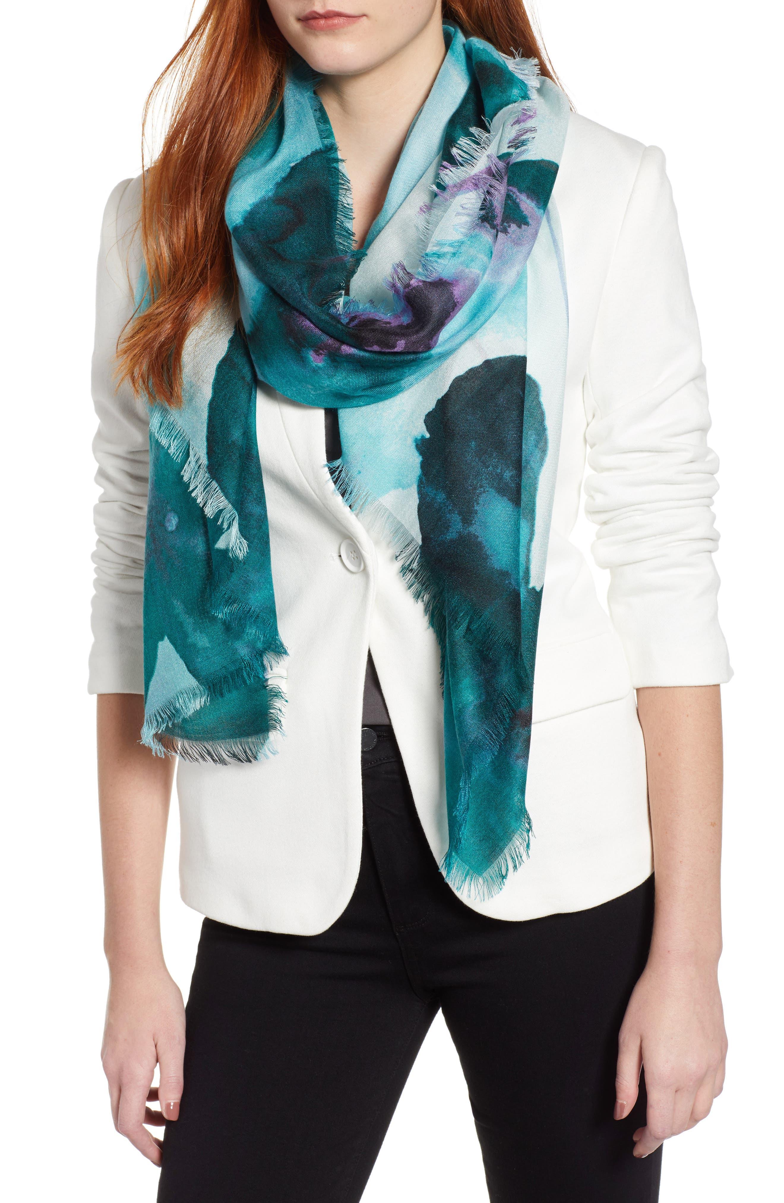 Eyelash Trim Print Cashmere & Silk Wrap,                             Main thumbnail 13, color,