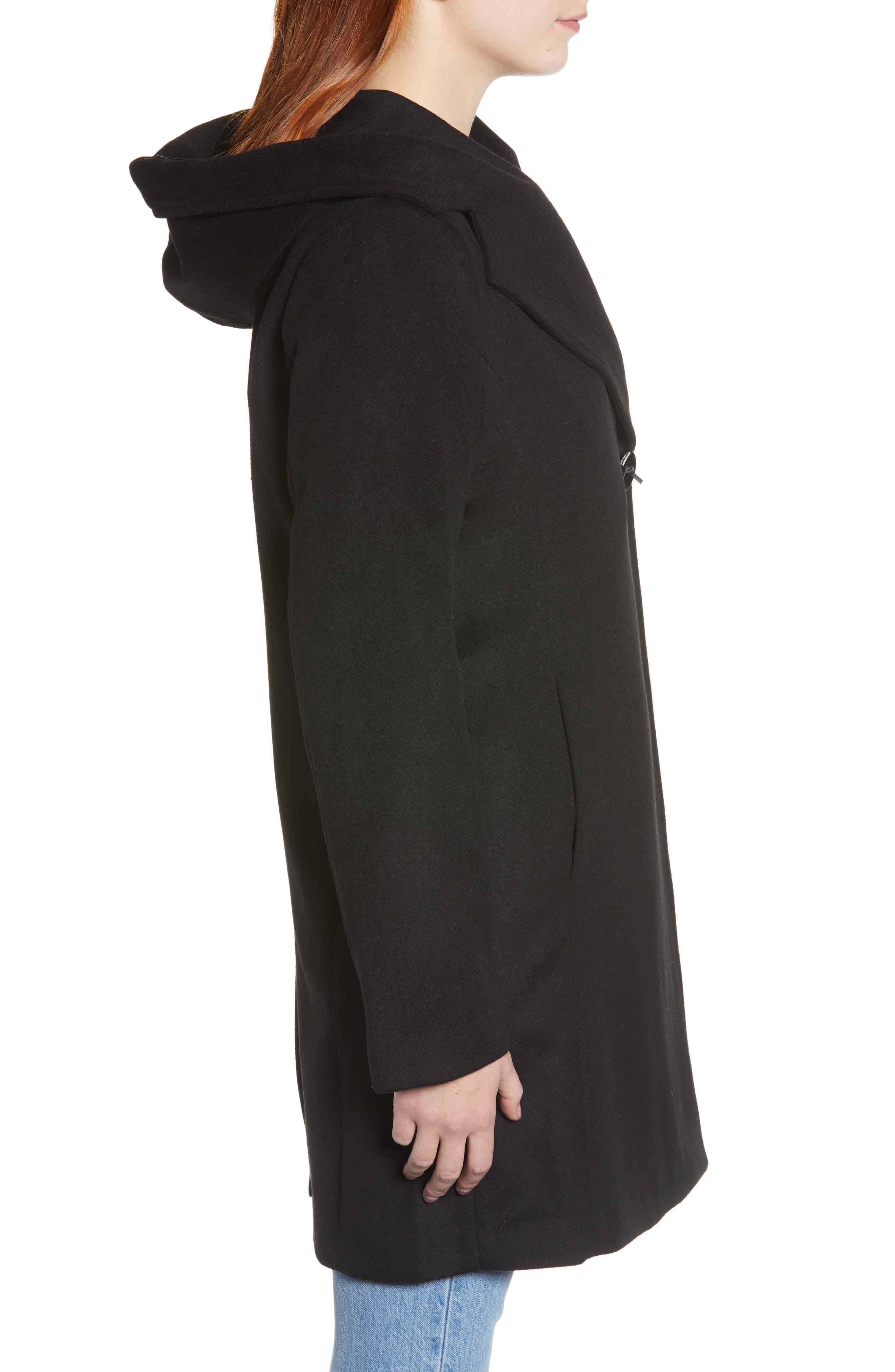 Shawl Collar Hooded Coat,                             Alternate thumbnail 3, color,                             BLACK