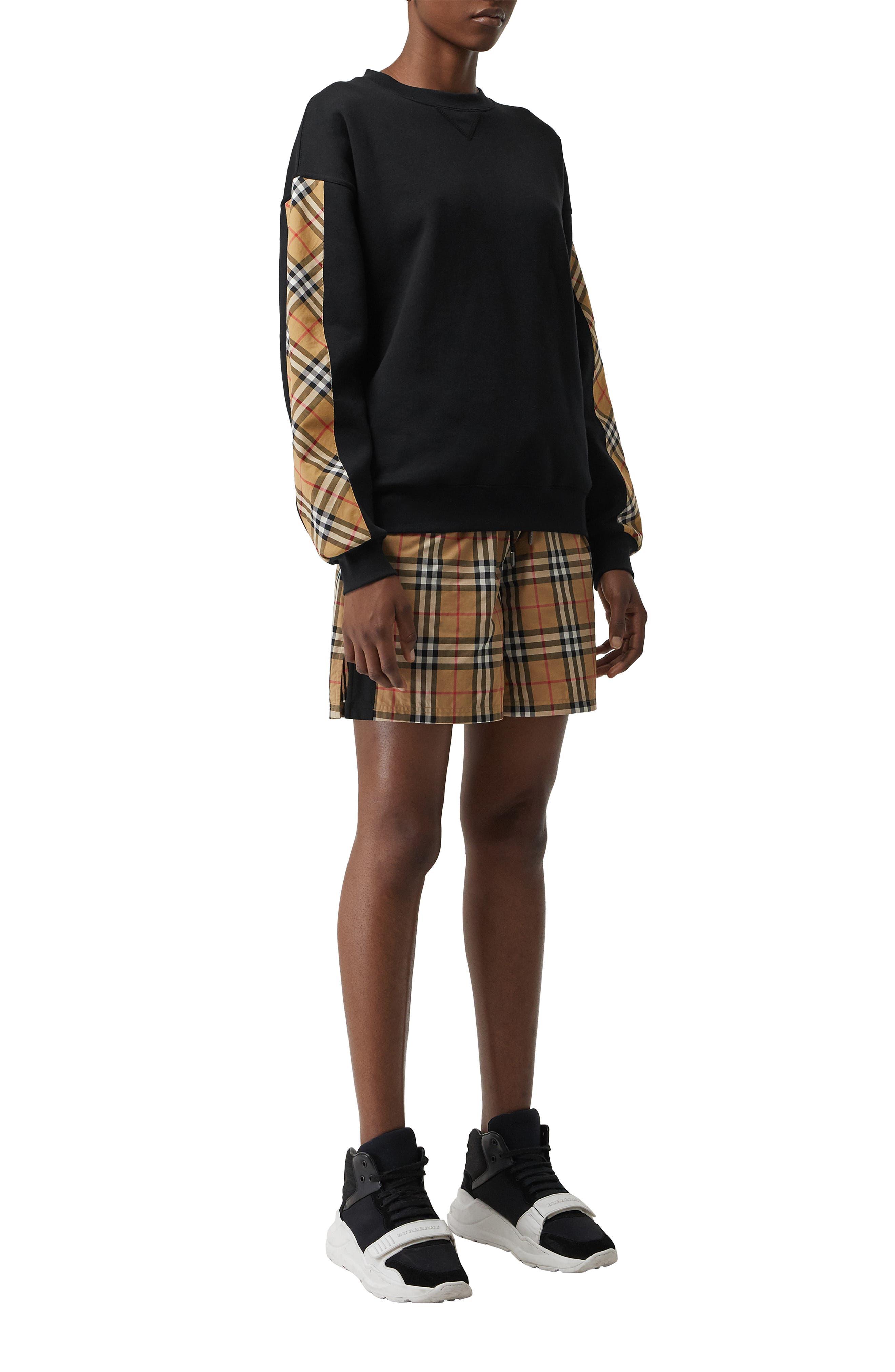 Bronx Check Sleeve Sweatshirt,                             Alternate thumbnail 6, color,                             BLACK
