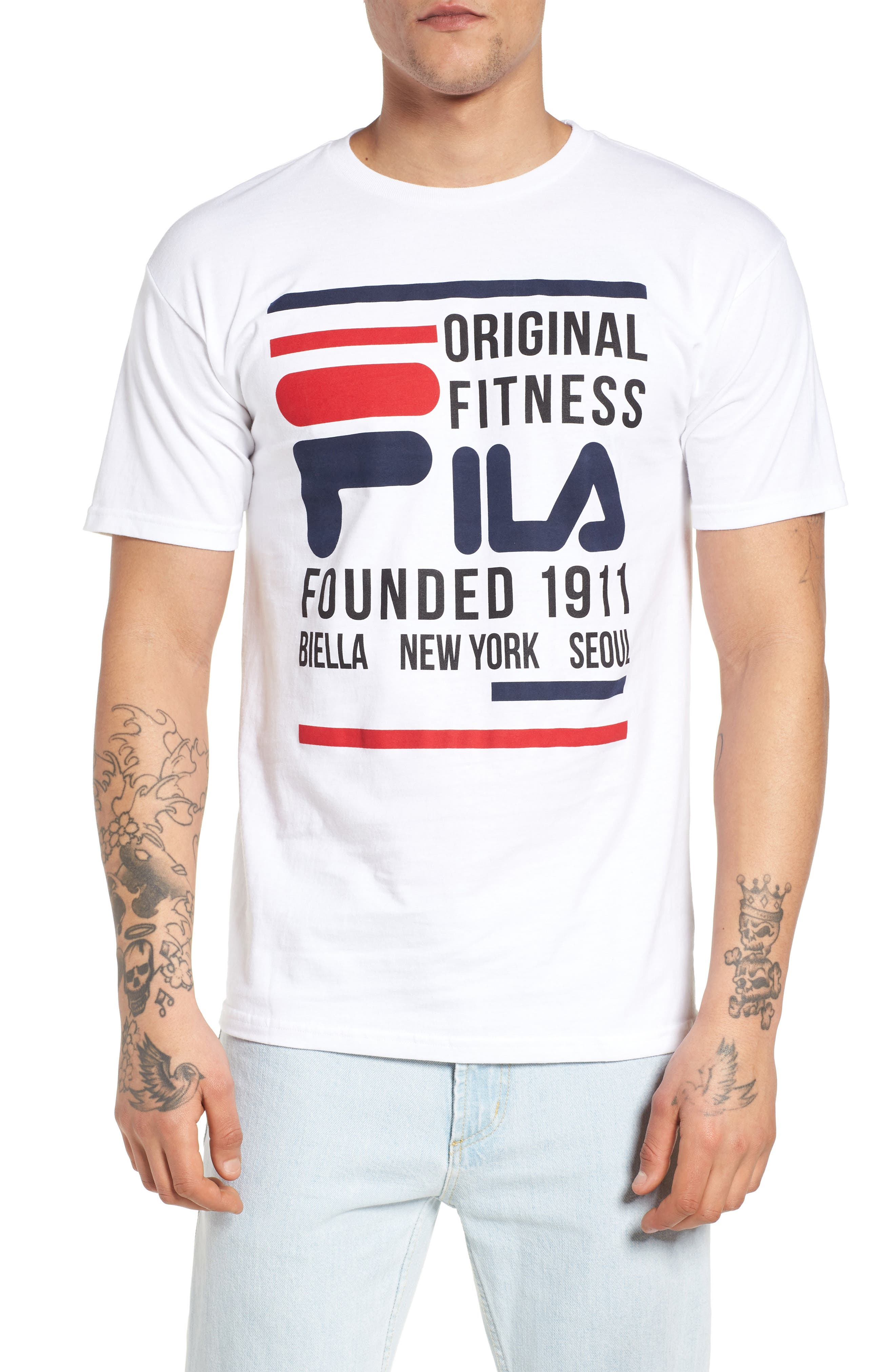 Original Fitness Graphic T-Shirt,                         Main,                         color, WHITE/ BLACK/ CHINESE RED