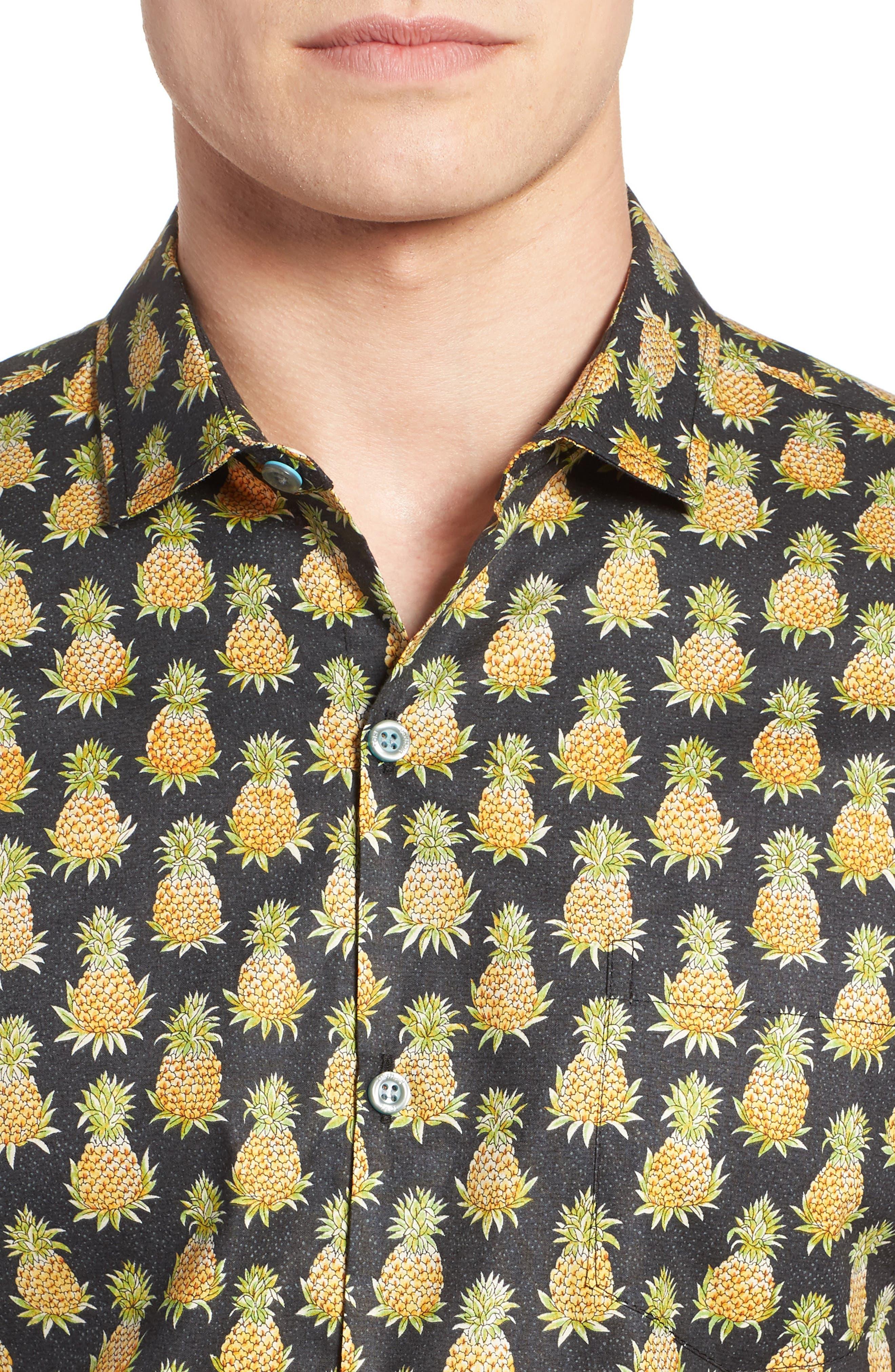 Pineaplism Trim Fit Camp Shirt,                             Alternate thumbnail 4, color,                             BLACK