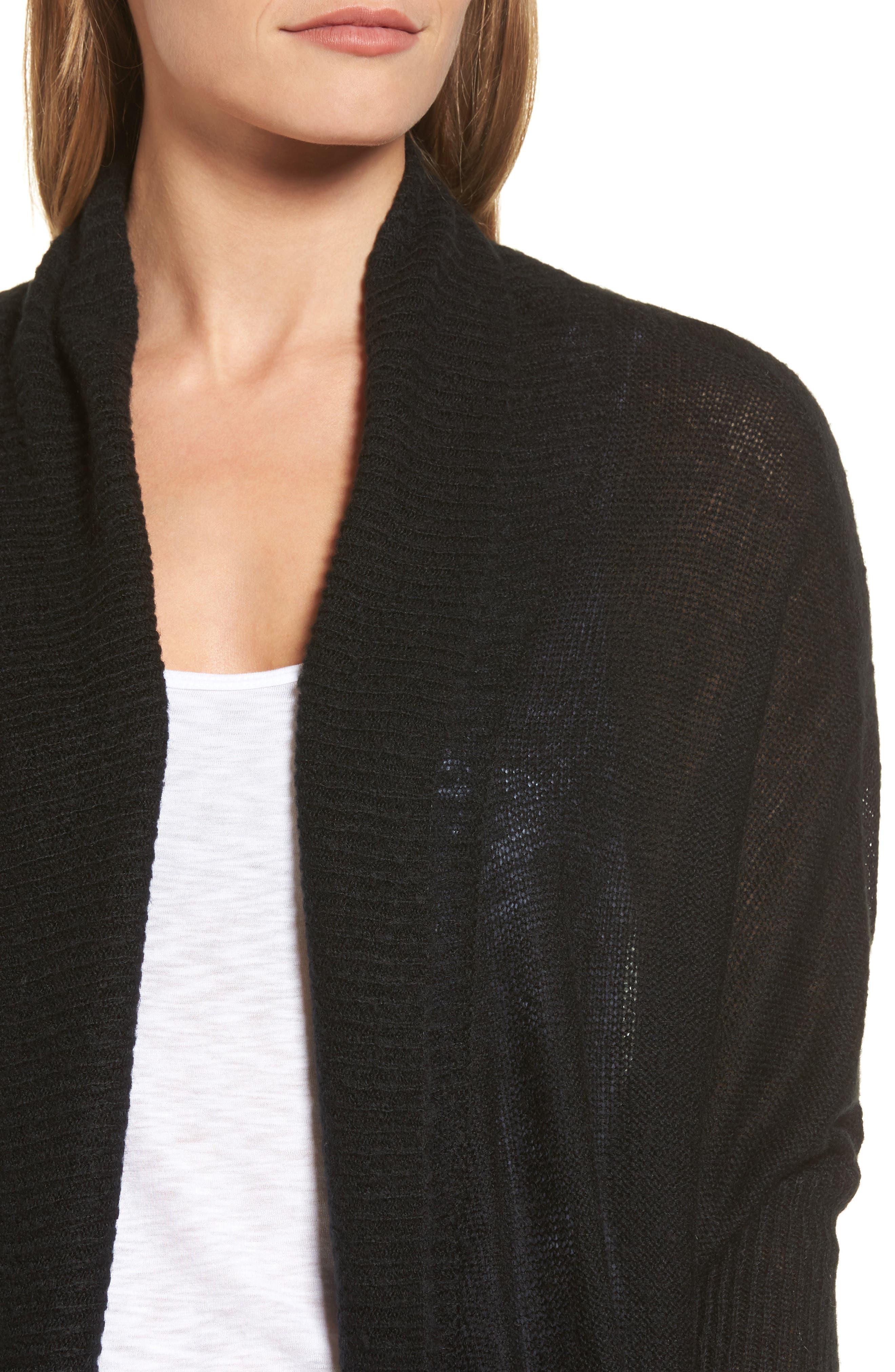 Tissue Knit Longline Cardigan,                             Alternate thumbnail 4, color,                             001