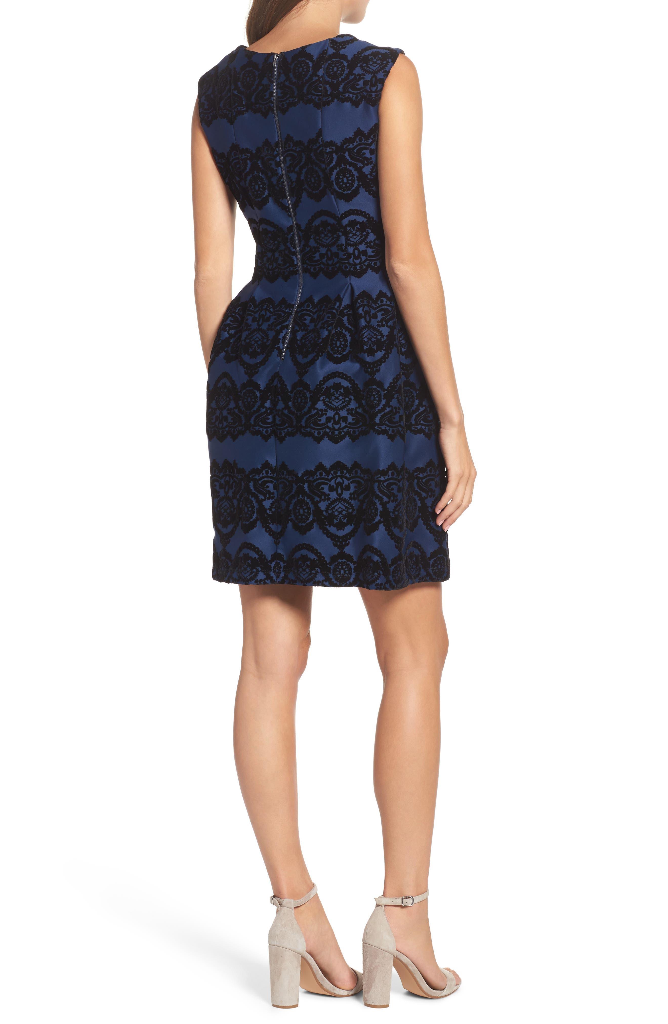 Scuba Fit & Flare Dress,                             Alternate thumbnail 2, color,                             410
