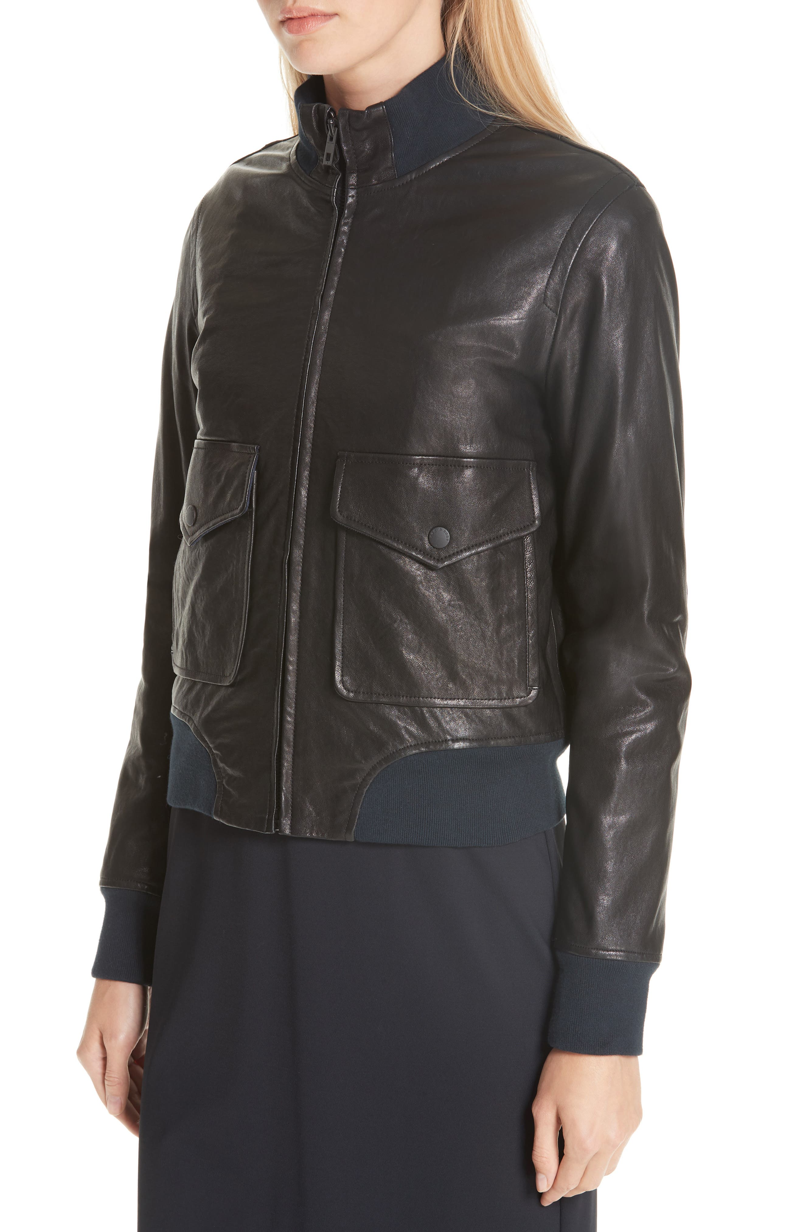 Mila Lambskin Leather Jacket,                             Alternate thumbnail 4, color,                             001
