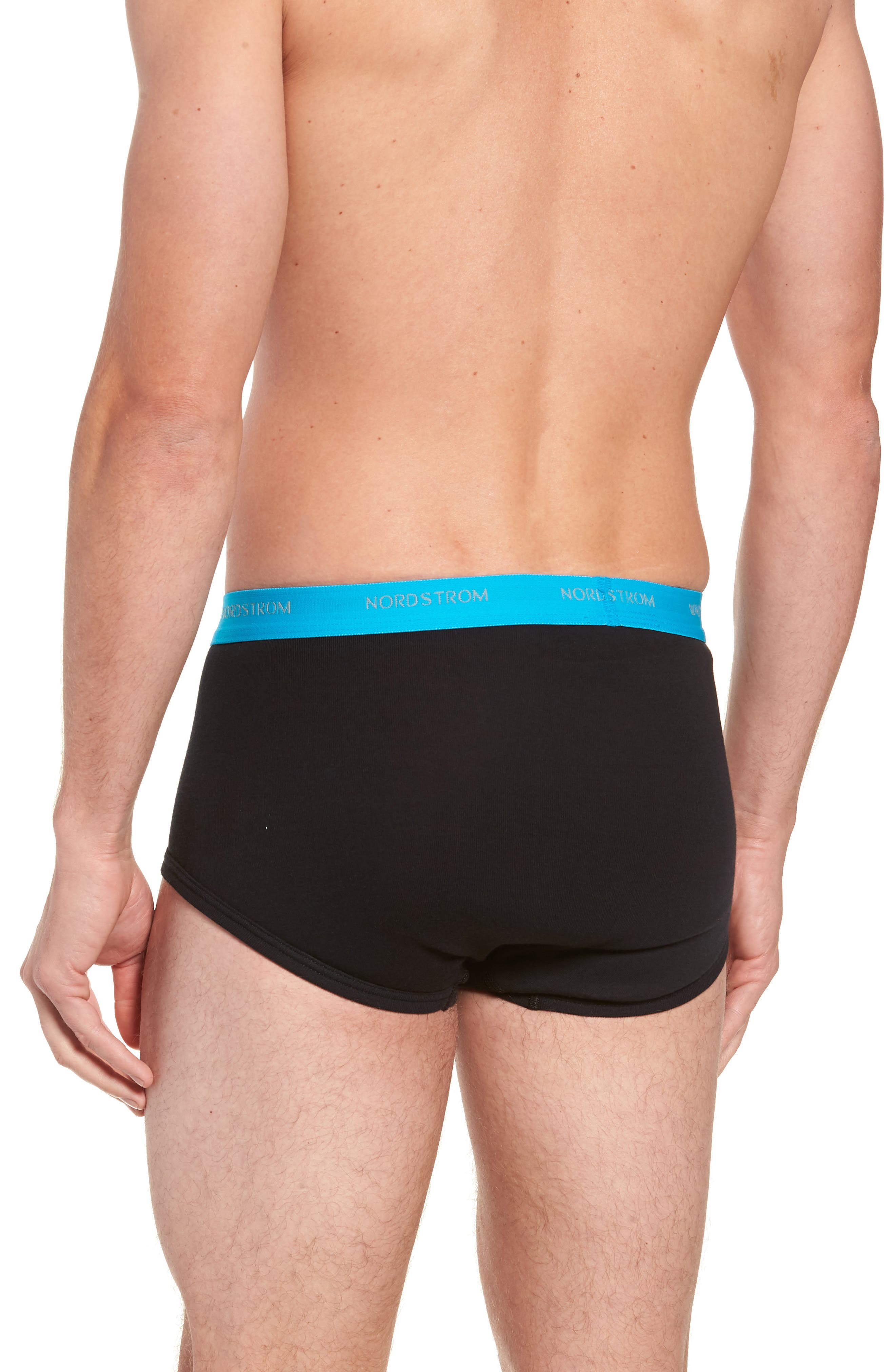4-Pack Supima<sup>®</sup> Cotton Briefs,                             Alternate thumbnail 3, color,                             BLACK- TEAL/ GREEN/ RED