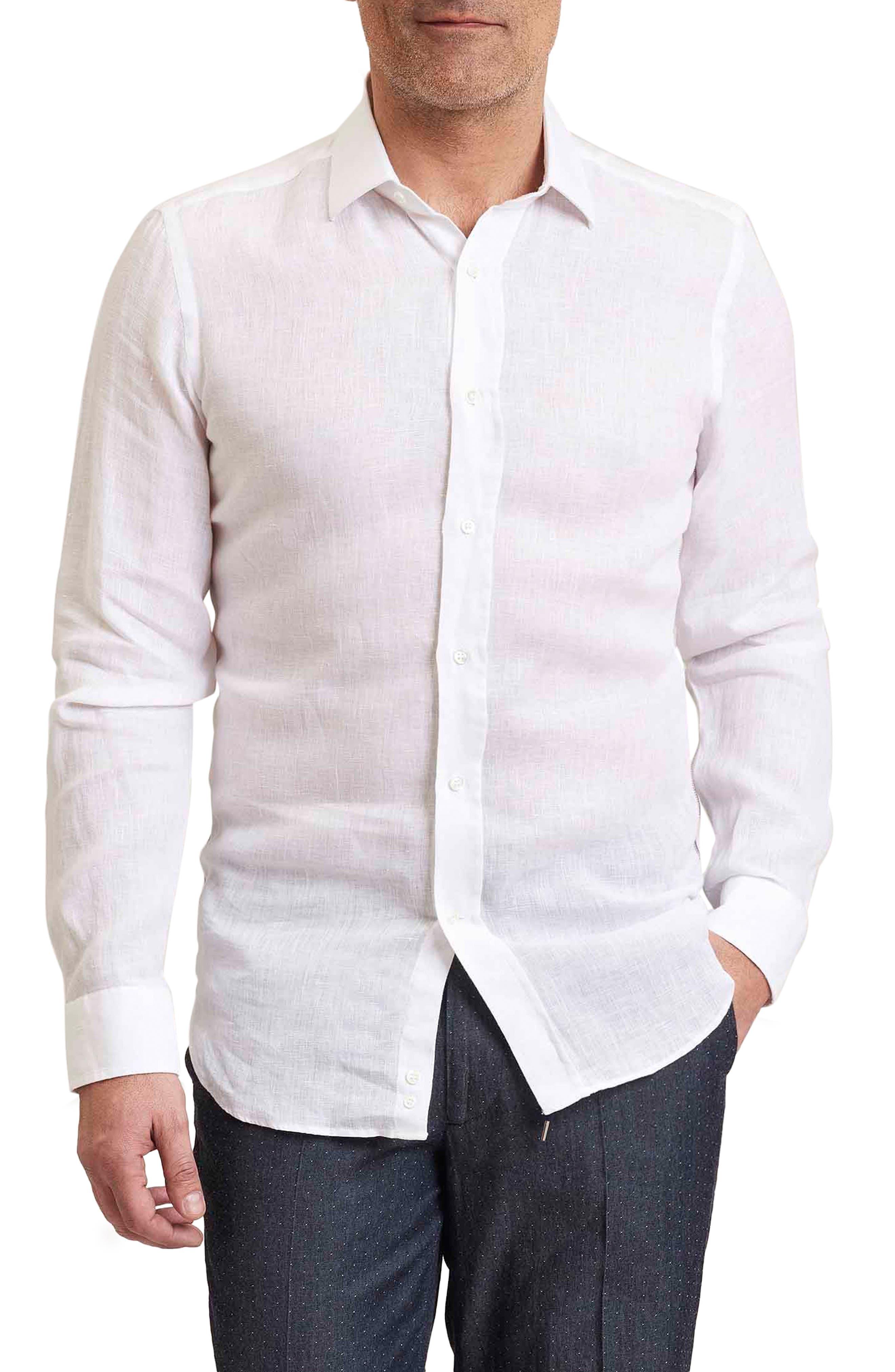 Delave Regular Fit Linen Sport Shirt,                         Main,                         color, 100