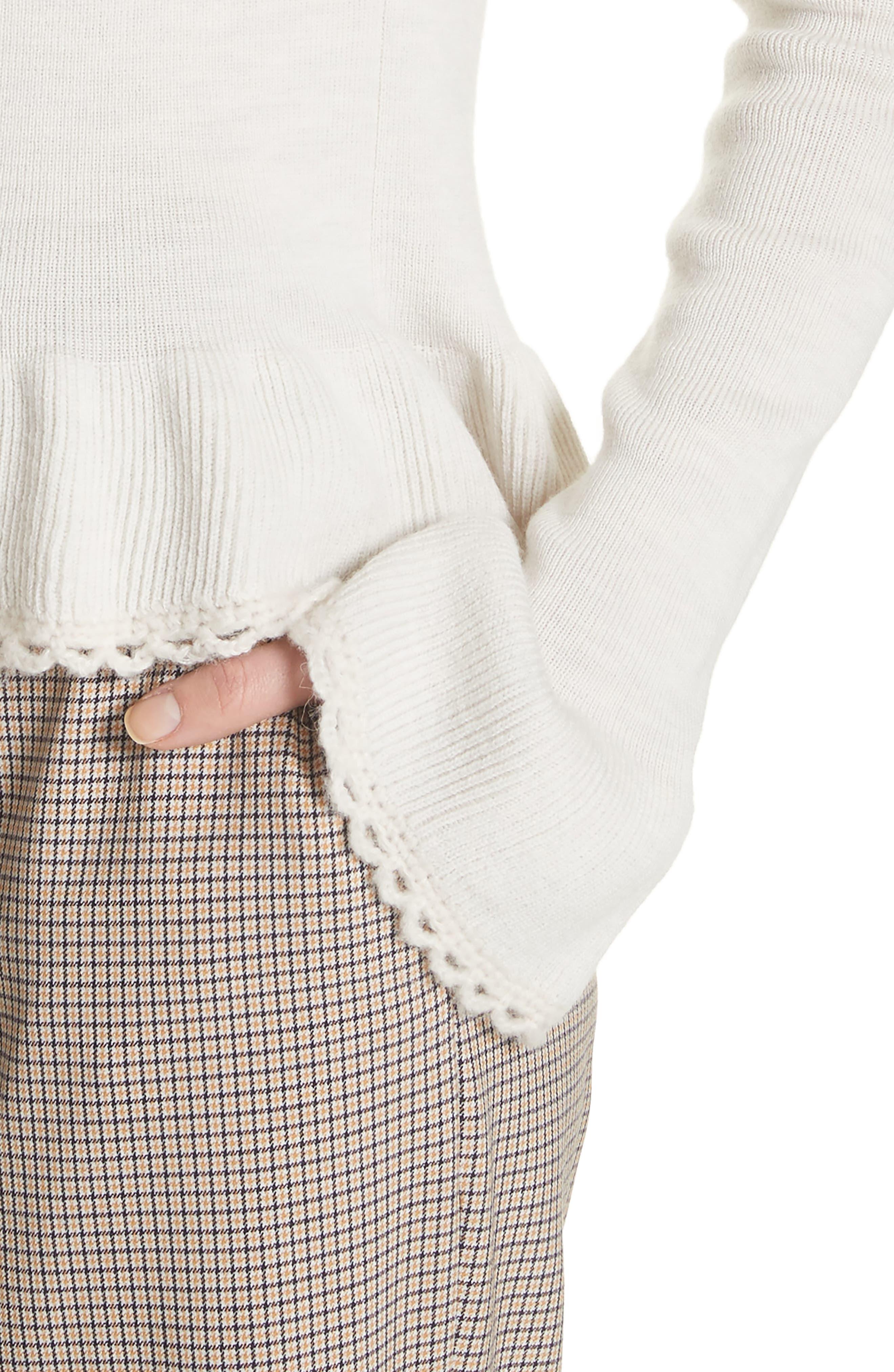 Peplum Wool Sweater,                             Alternate thumbnail 4, color,                             MISTY IVORY
