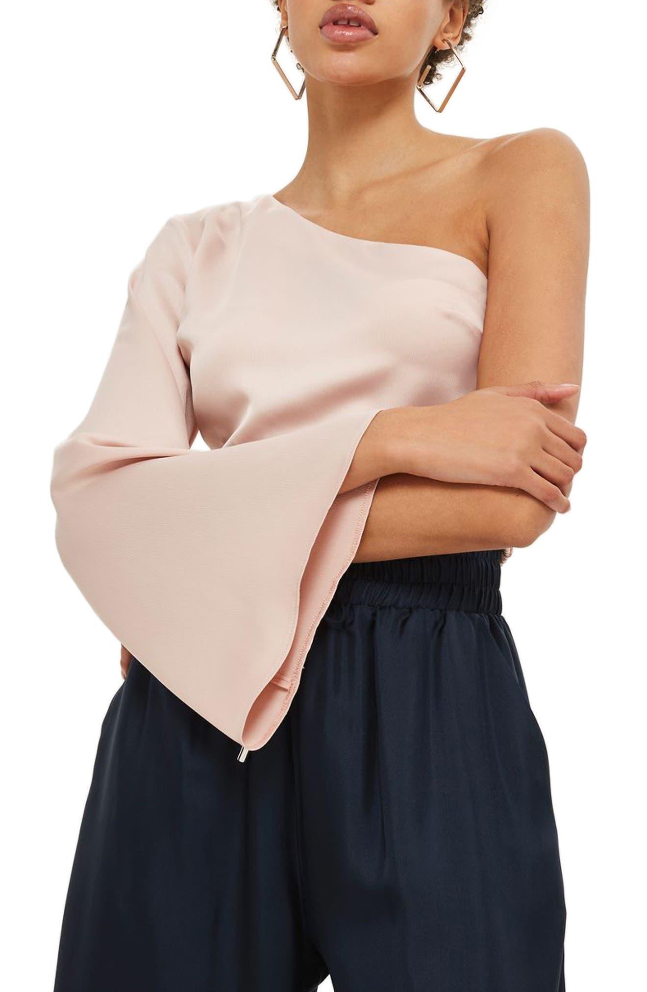 Satin One-Shoulder Angel Blouse,                         Main,                         color, 250