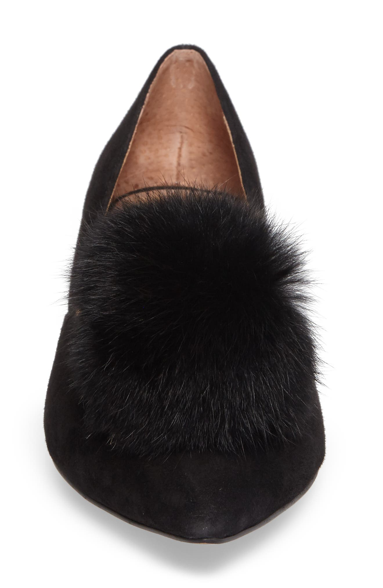 Camille Pump with Genuine Rabbit Fur Pom,                             Alternate thumbnail 4, color,                             002