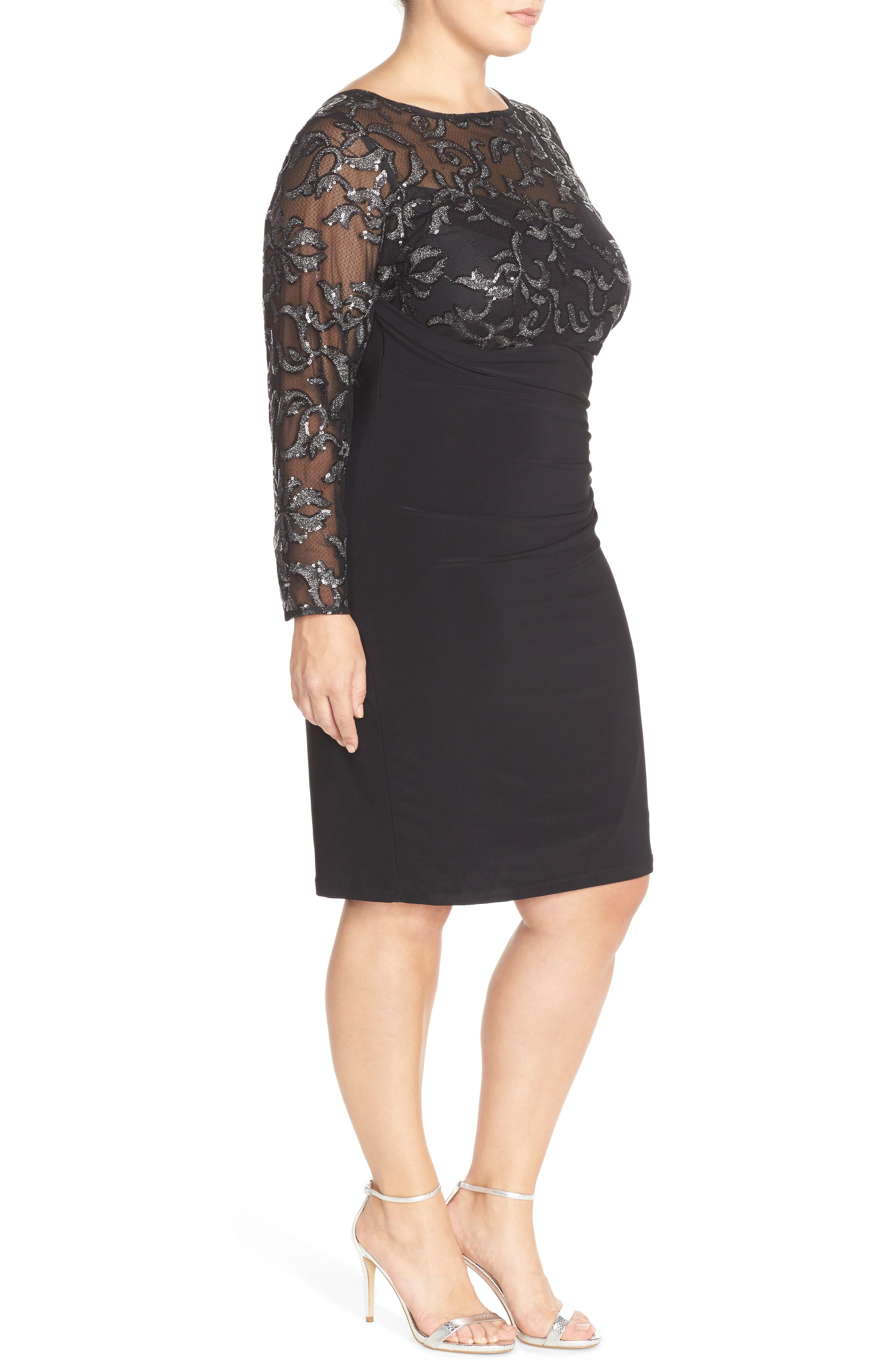 Sequin Illusion & Jersey Side Ruched Sheath Dress,                             Alternate thumbnail 14, color,