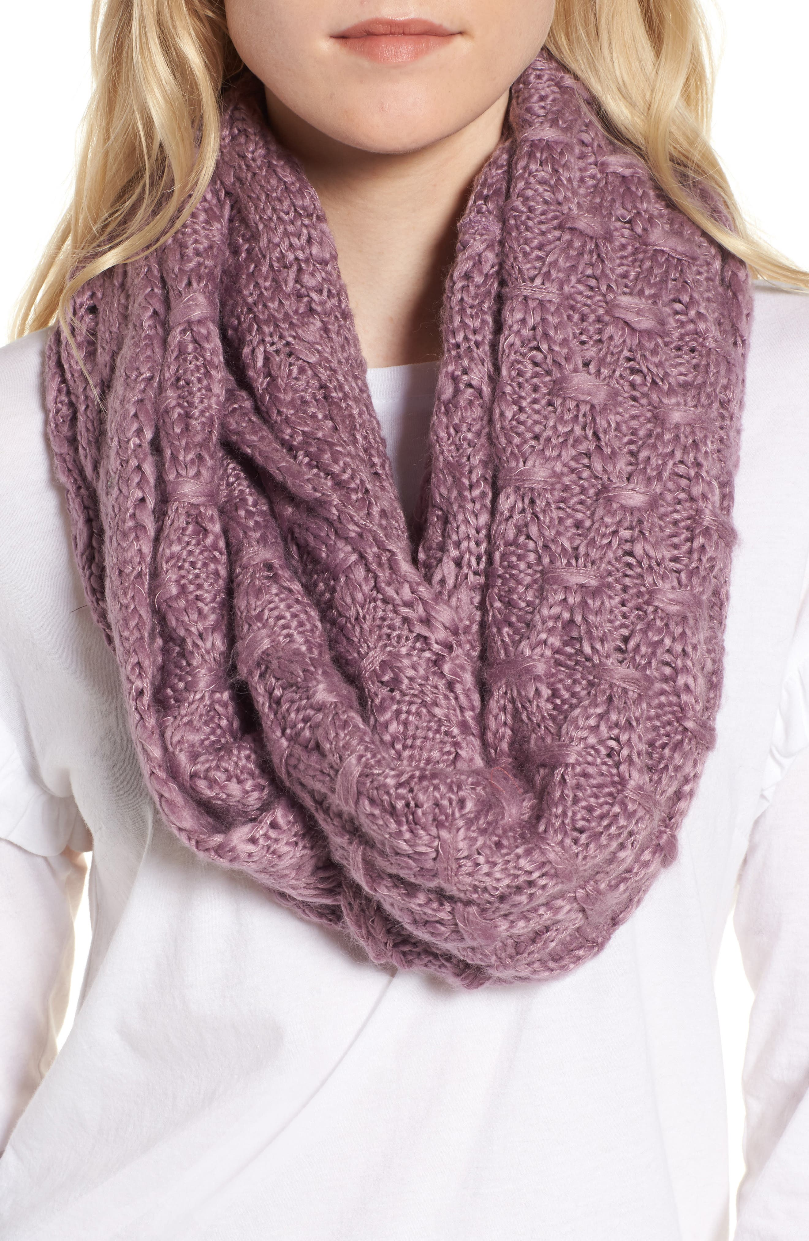 Solid Chunky Knit Infinity Scarf,                             Main thumbnail 4, color,