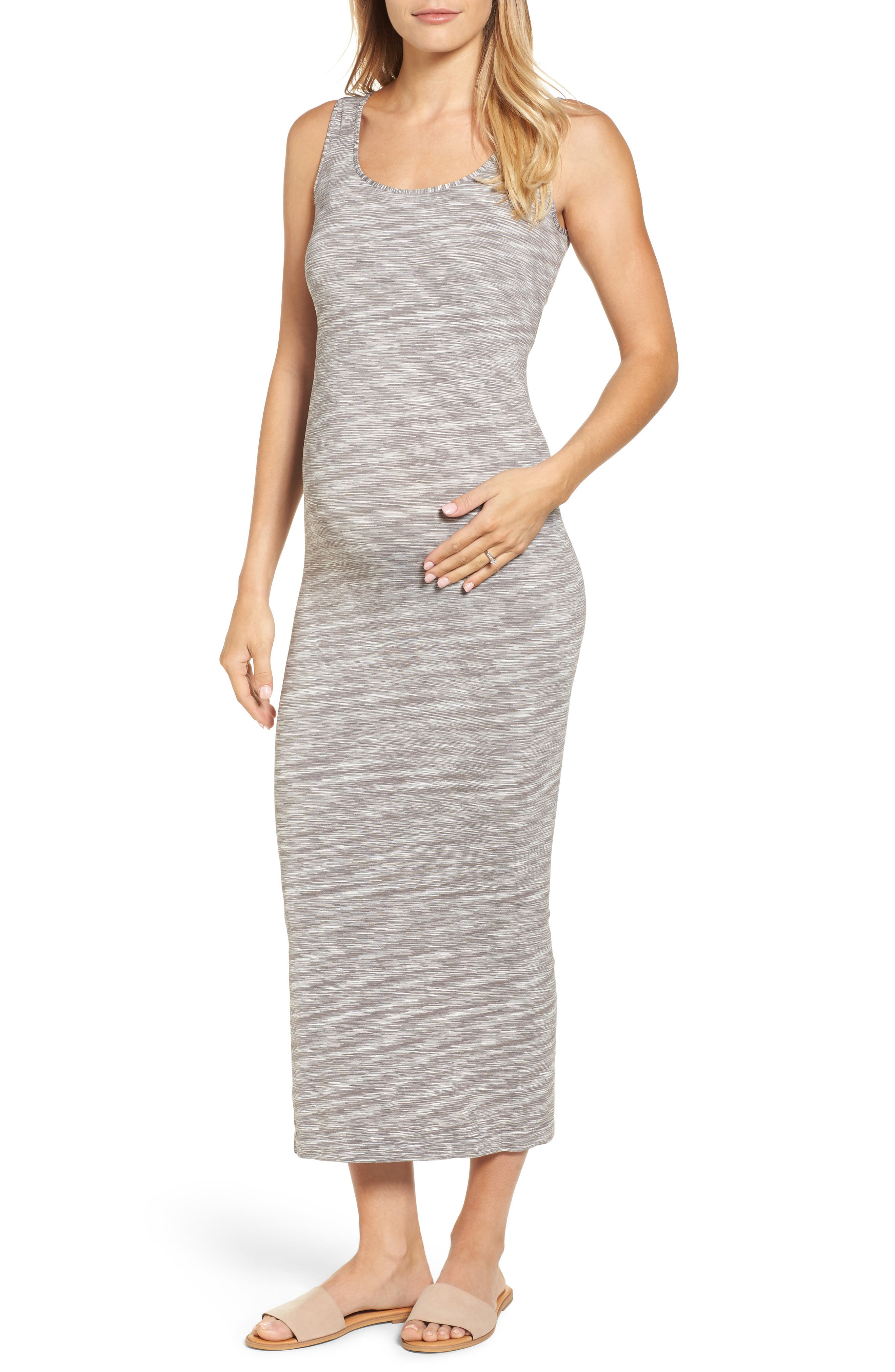 Marled Maxi Maternity Dress,                             Alternate thumbnail 2, color,                             020