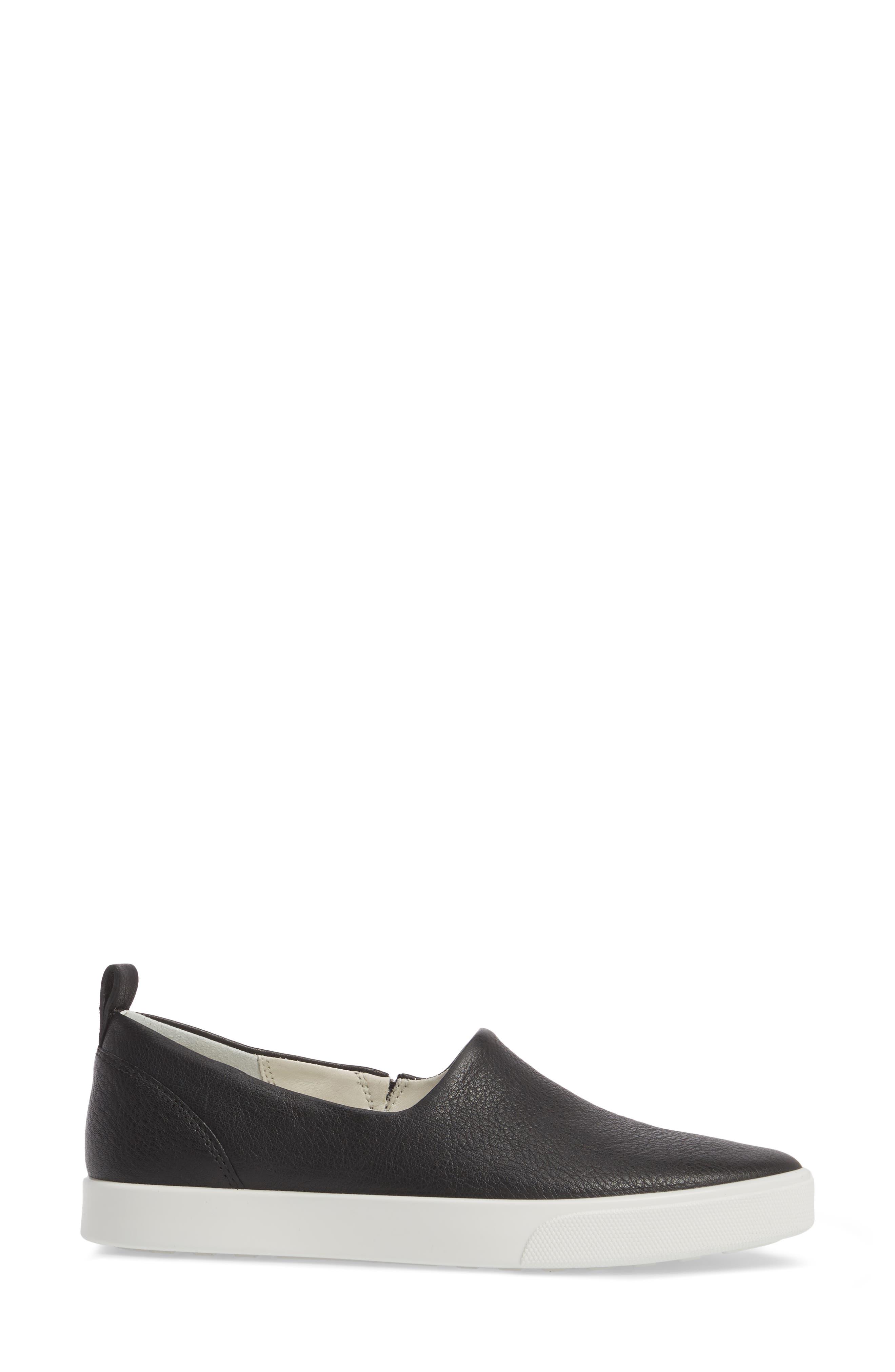 Gillian Slip-On Sneaker,                             Alternate thumbnail 3, color,                             BLACK LEATHER