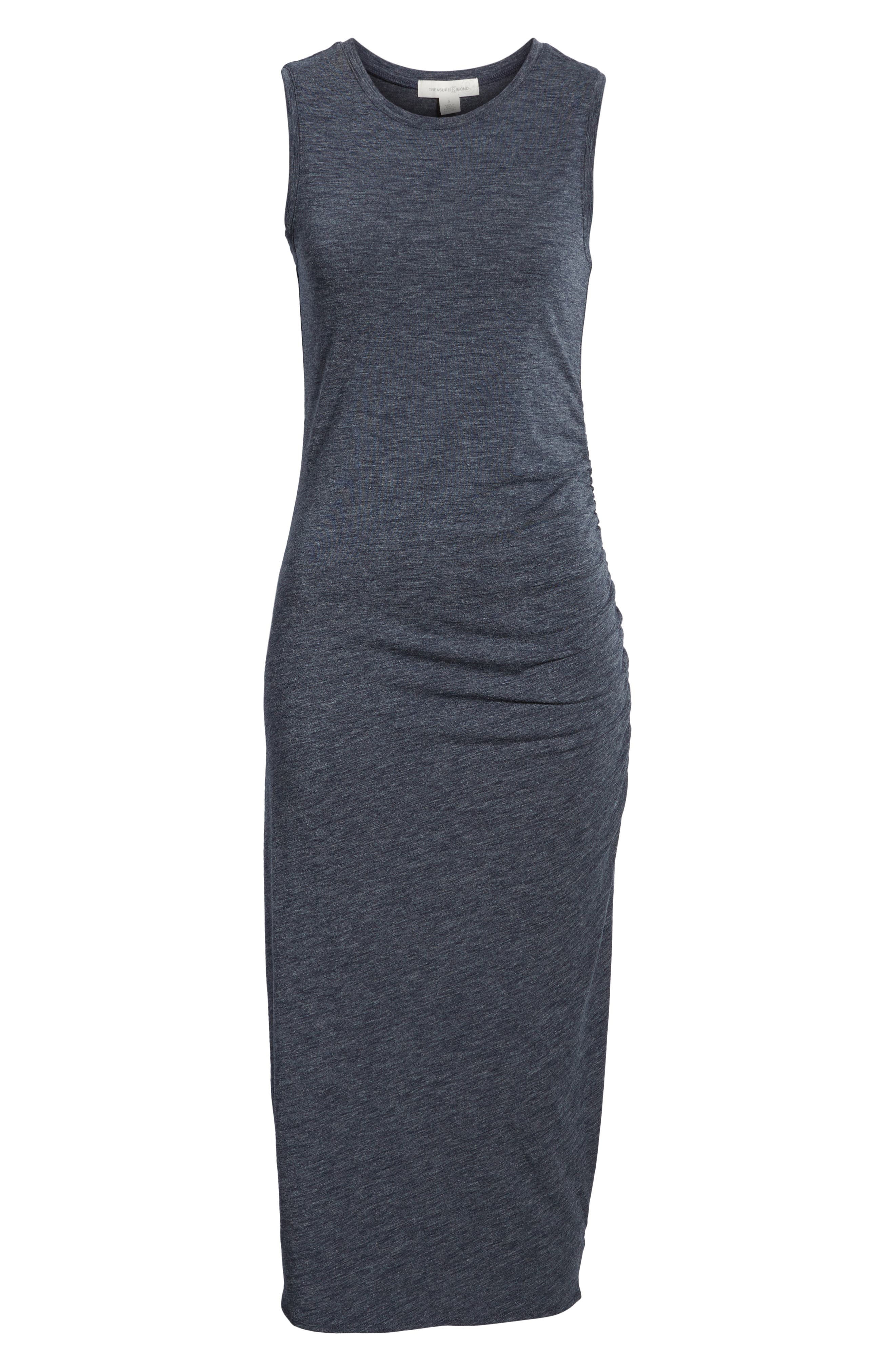 Sleeveless Side Ruched Dress,                             Alternate thumbnail 7, color,                             410