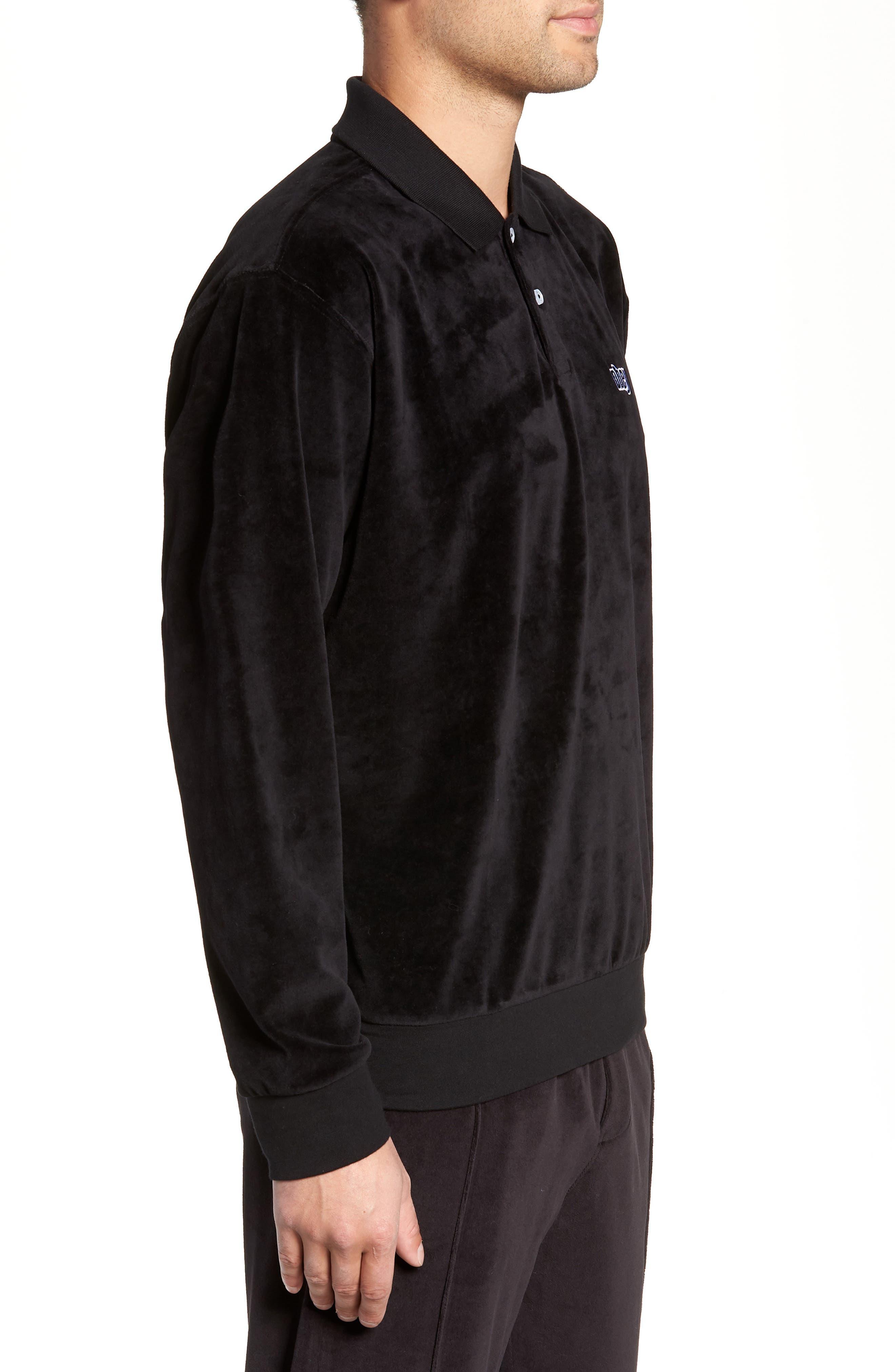 Saucer Long Sleeve Velour Polo,                             Alternate thumbnail 3, color,                             BLACK