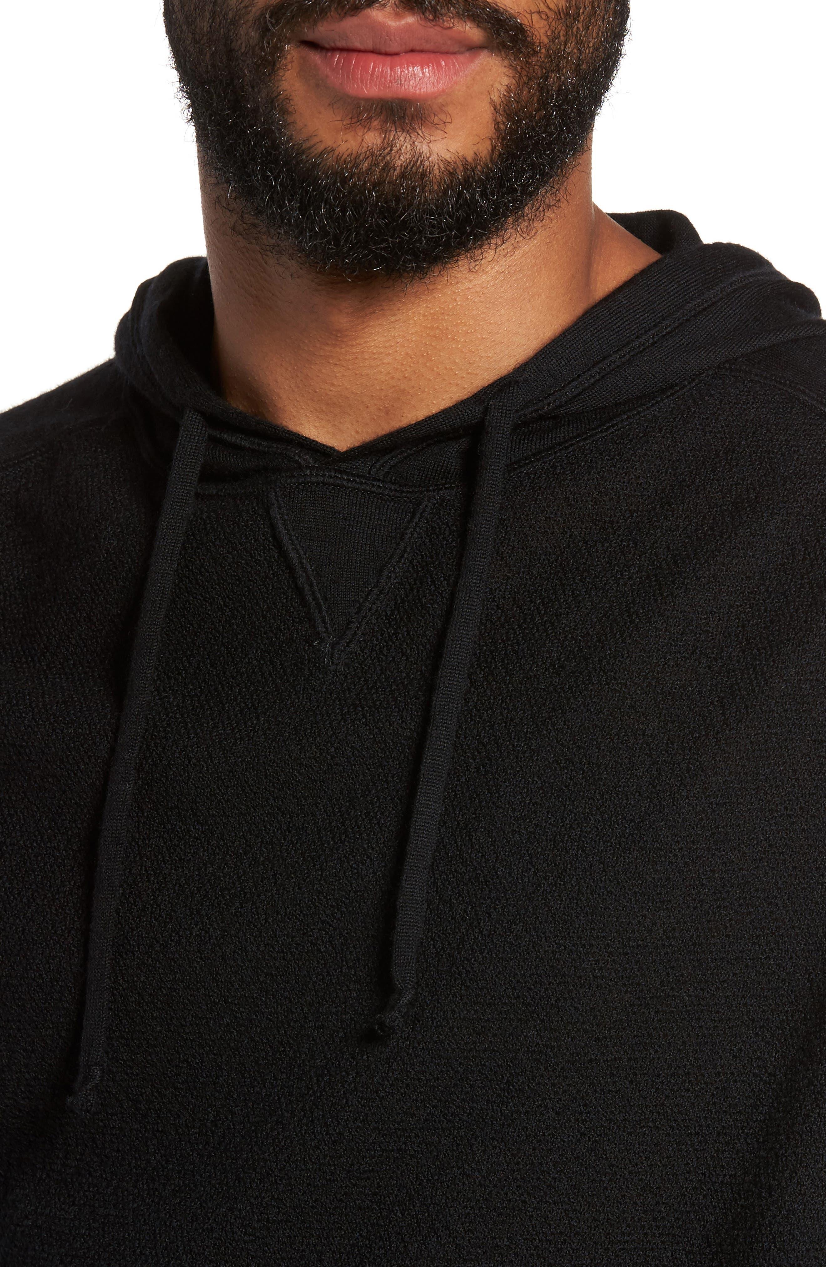 Classic Slim Fit Merino Wool Hoodie,                             Alternate thumbnail 4, color,                             001