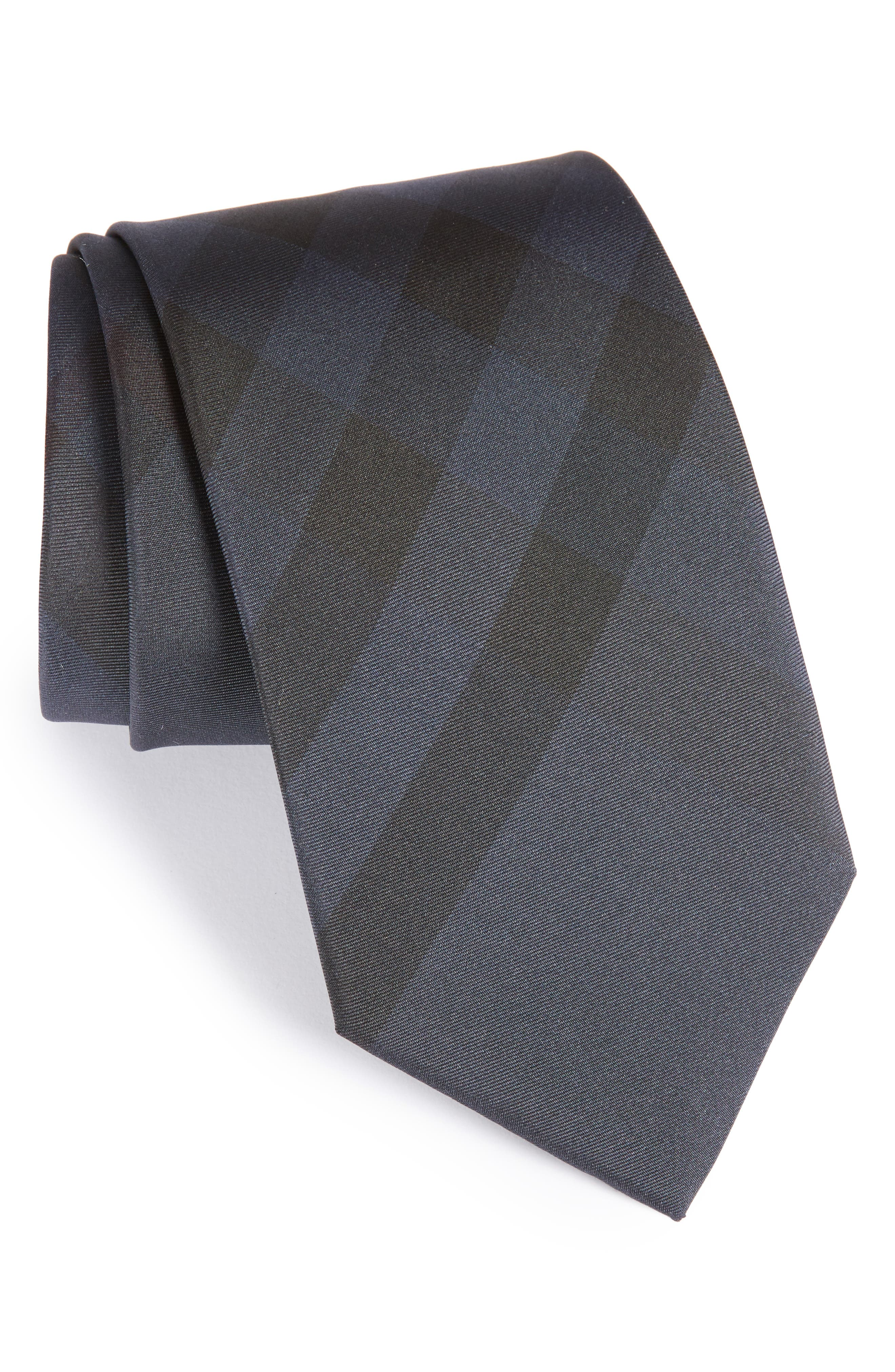 Exploded Scale Check Silk Tie,                             Main thumbnail 1, color,