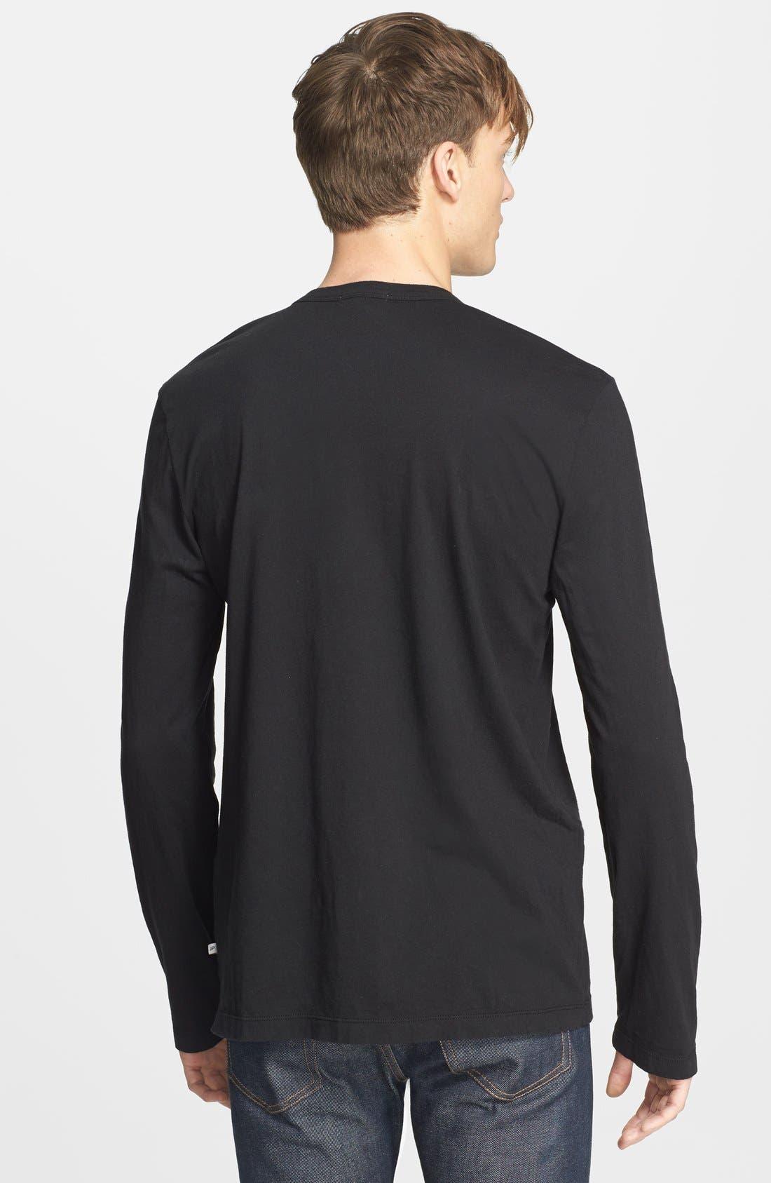 Long Sleeve Crewneck T-Shirt,                             Alternate thumbnail 2, color,                             001