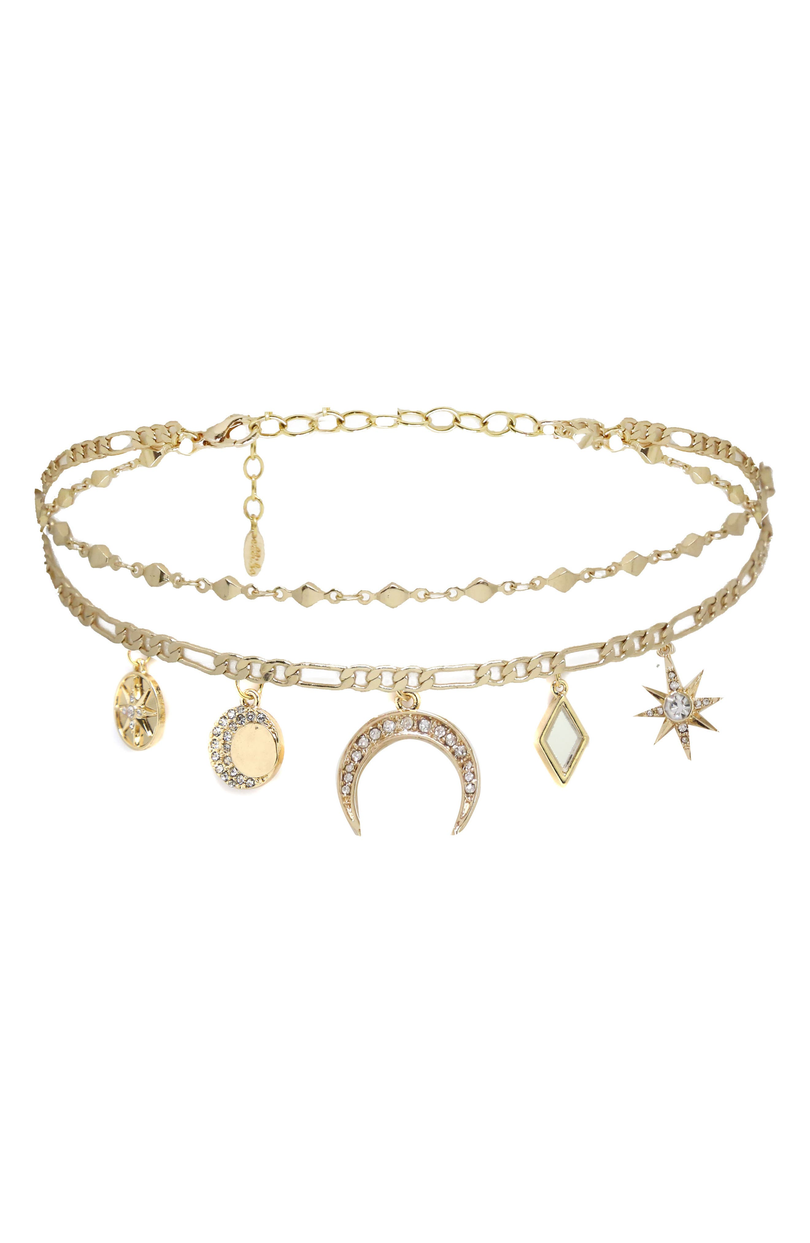 Mirror Charm Choker Necklace,                         Main,                         color, 710