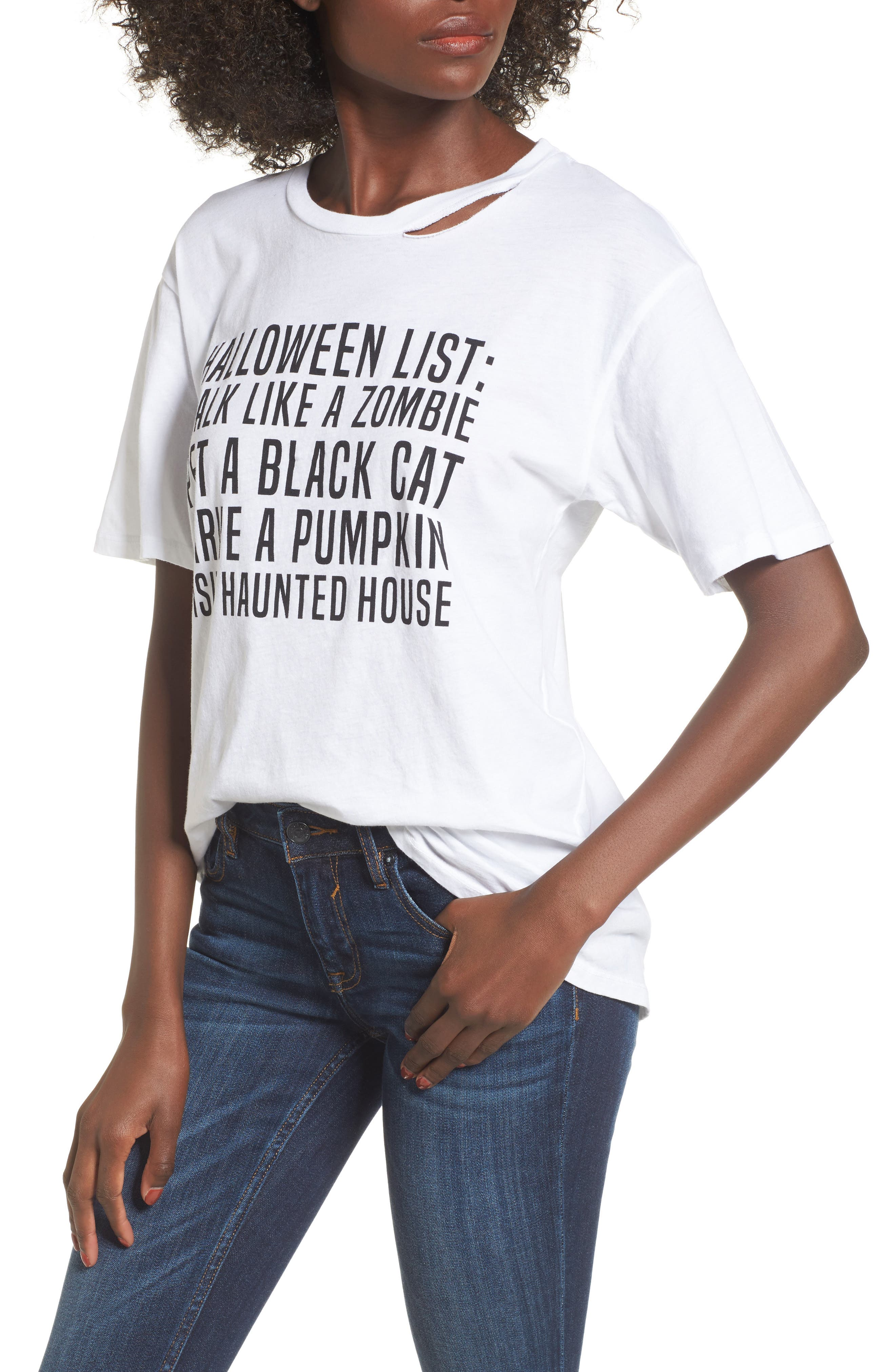 Halloween List Graphic Tee,                             Main thumbnail 1, color,                             100