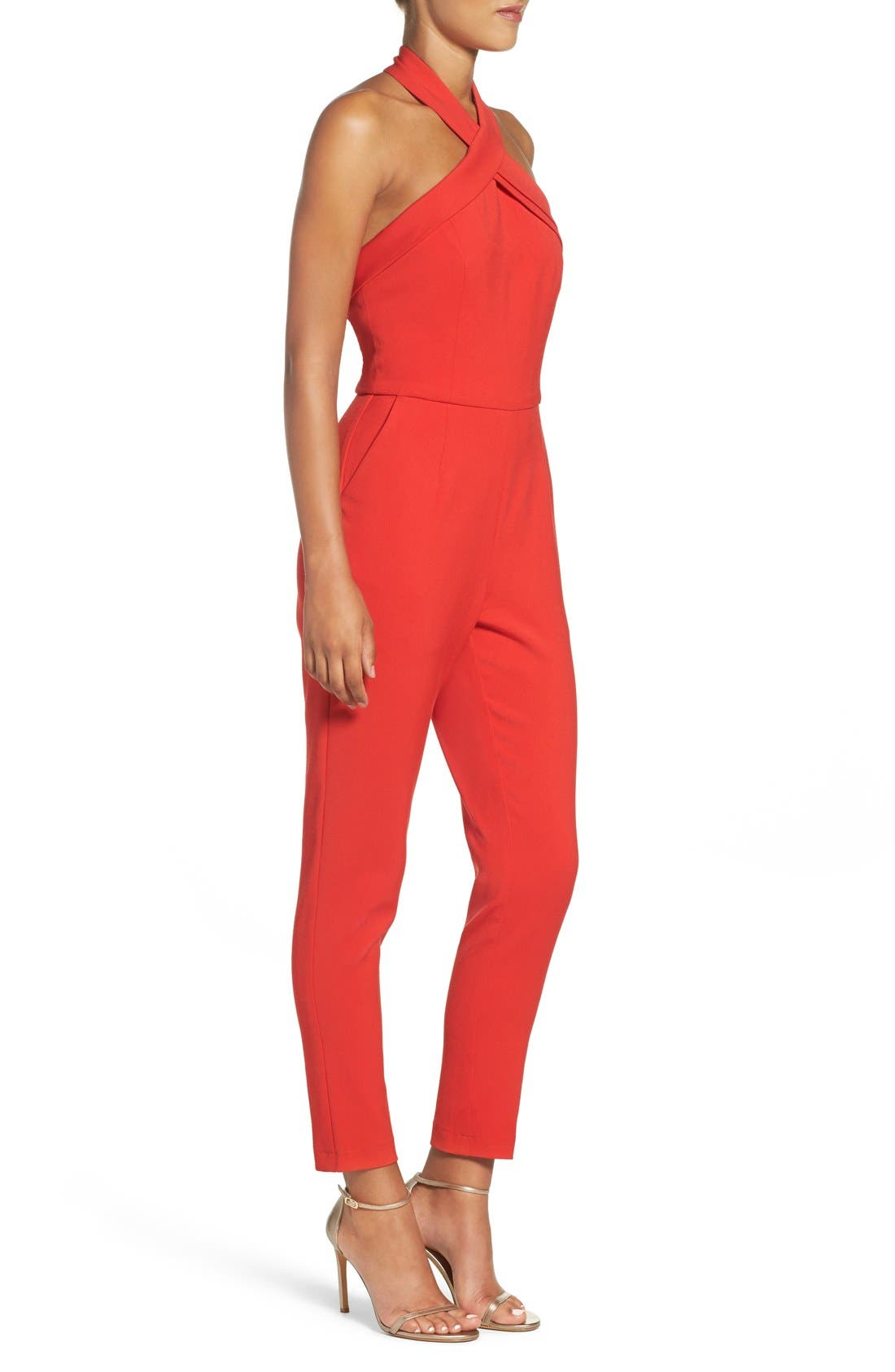 Halter Jumpsuit,                             Alternate thumbnail 6, color,