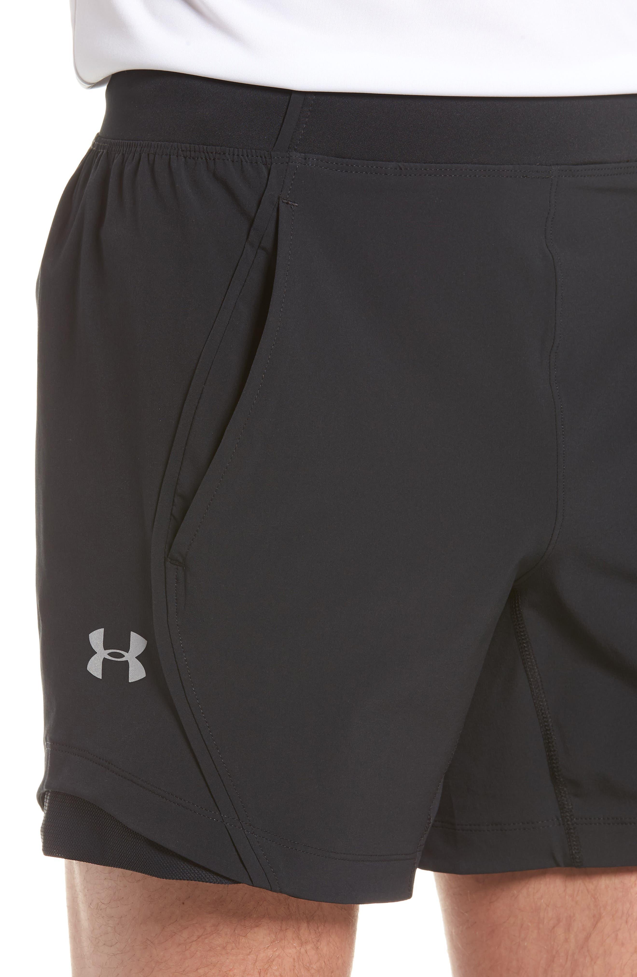 Under Armor Speedpocket Shorts,                             Alternate thumbnail 4, color,                             BLACK/ BLACK/ REFLECTIVE