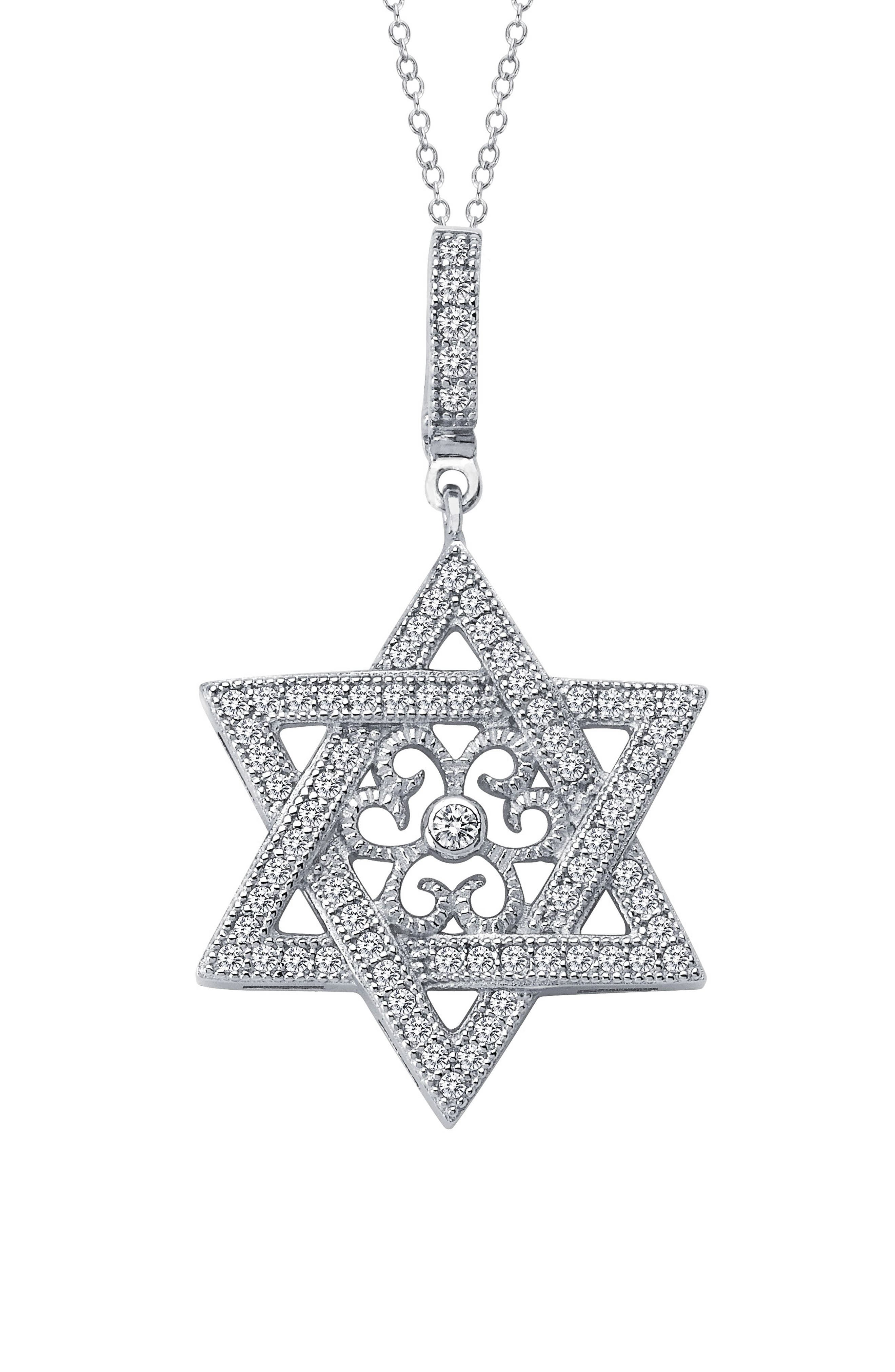 Star of David Simulated Diamond Pendant Necklace,                         Main,                         color, SILVER