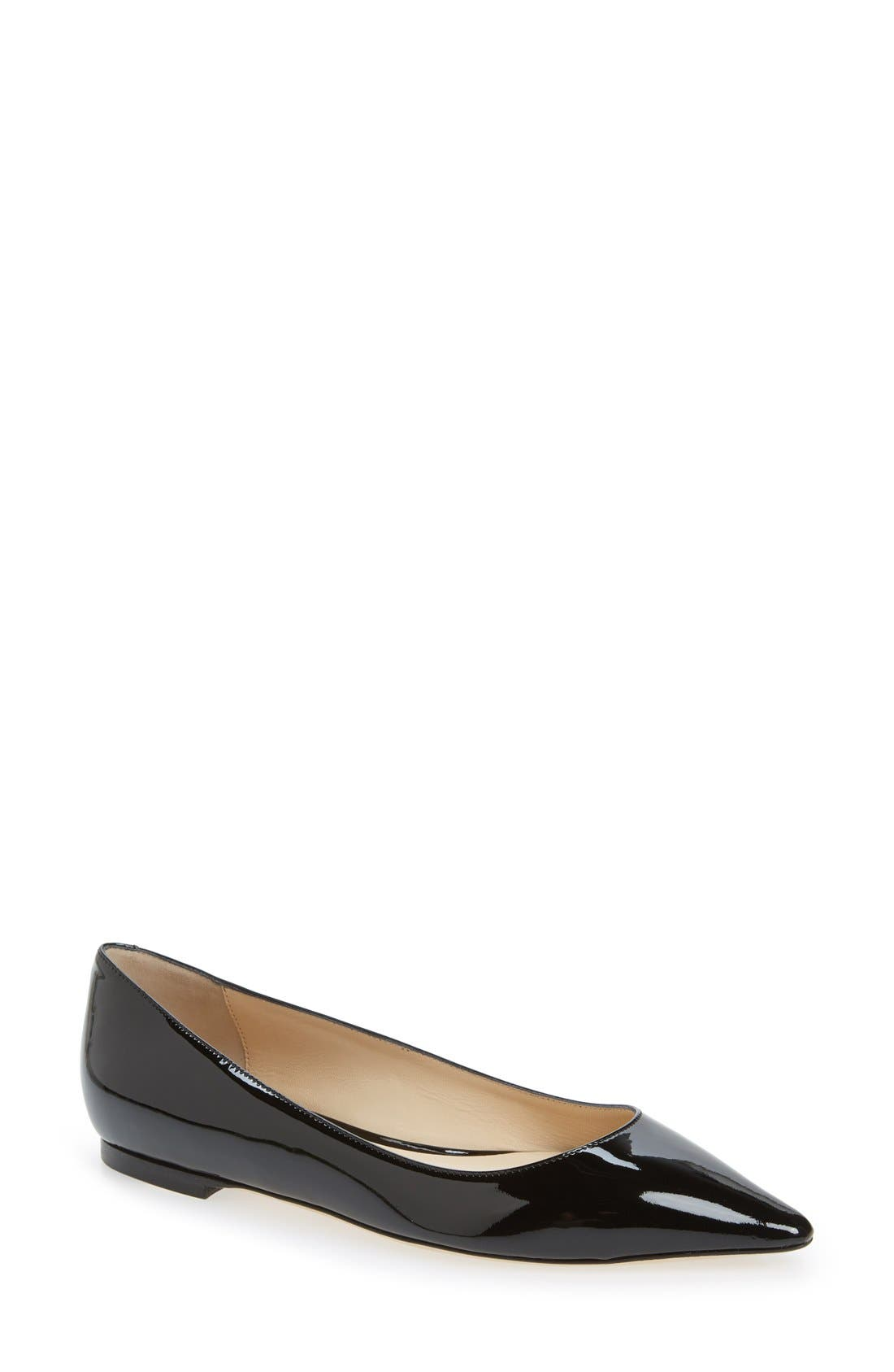 JIMMY CHOO,                             'Romy' Pointy Toe Flat,                             Main thumbnail 1, color,                             004