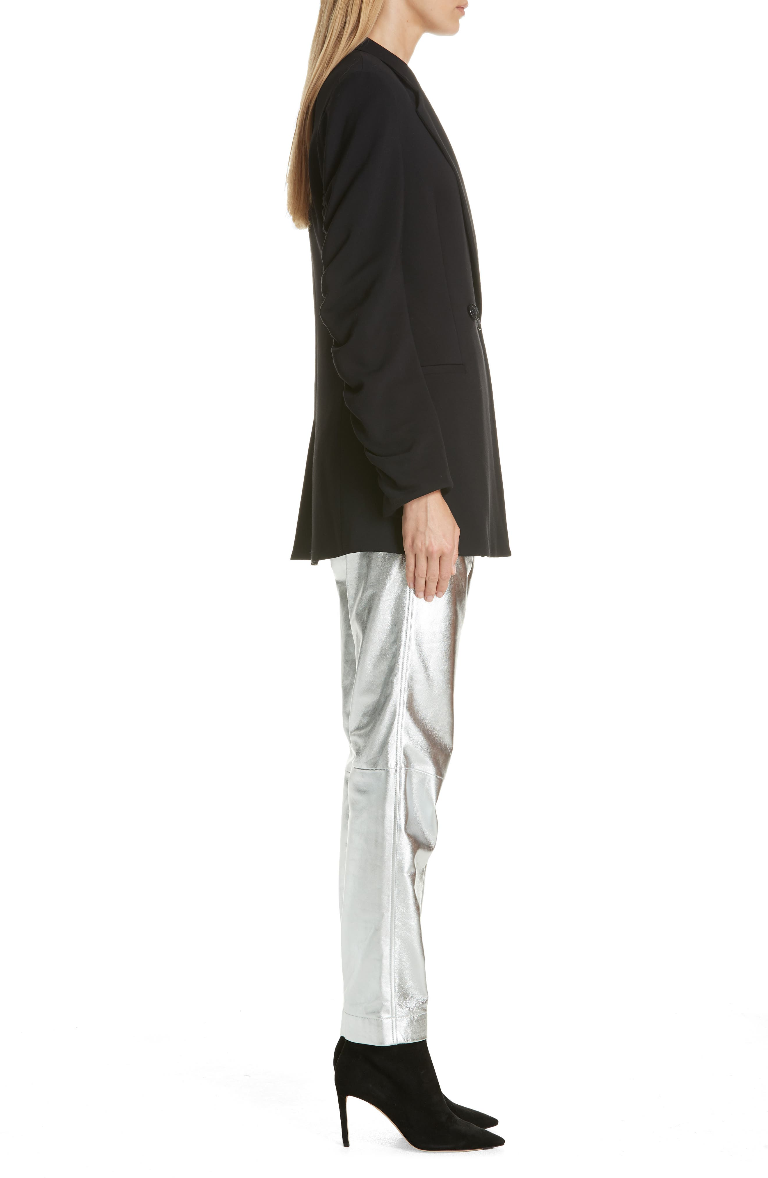 Ruched Sleeve Blazer,                             Alternate thumbnail 3, color,                             001