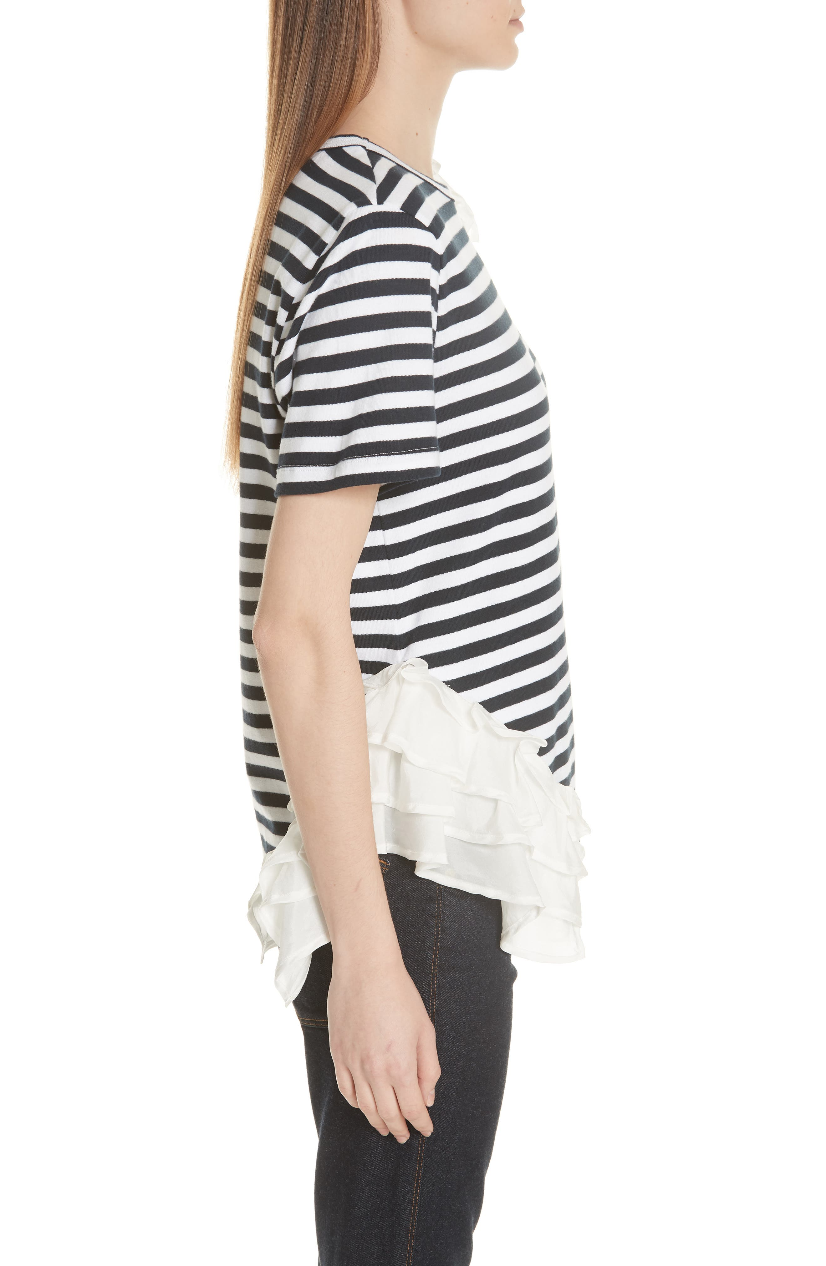 Ruffle Trim Stripe Top,                             Alternate thumbnail 3, color,                             NAVY