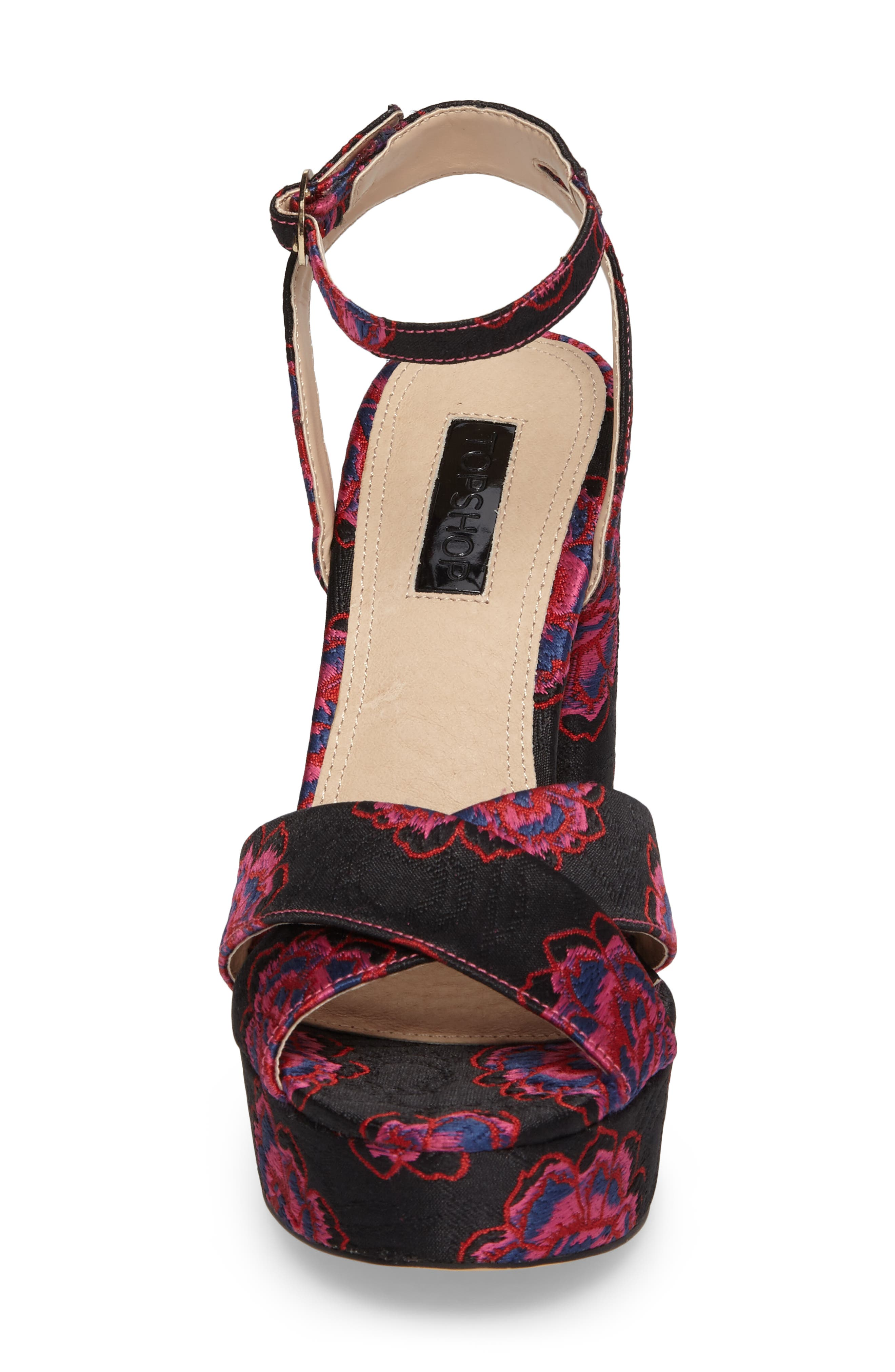 Lollie Embroidered Sandals,                             Alternate thumbnail 4, color,                             001