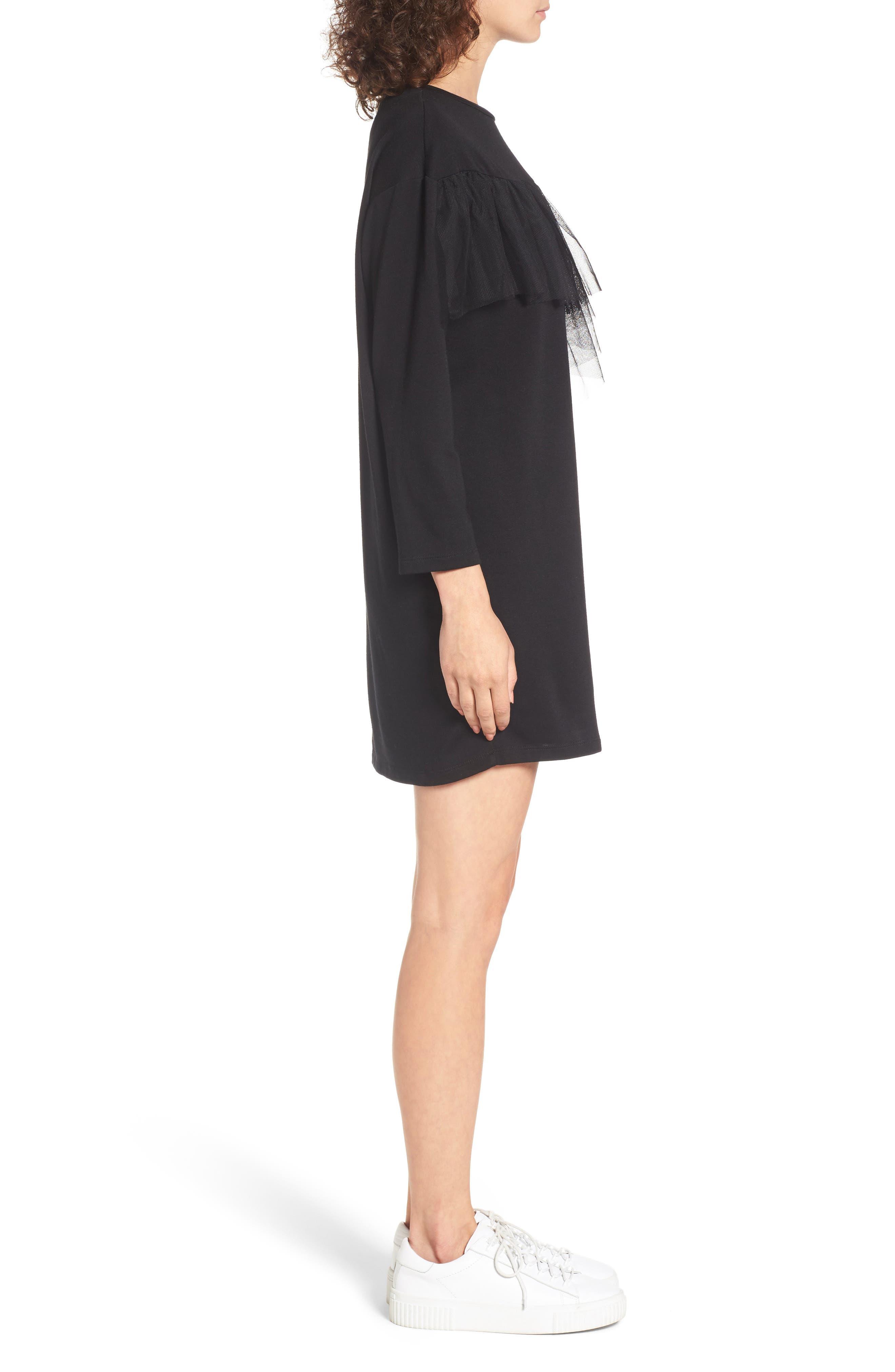 Tulle Ruffle Sweatshirt Dress,                             Alternate thumbnail 3, color,                             001