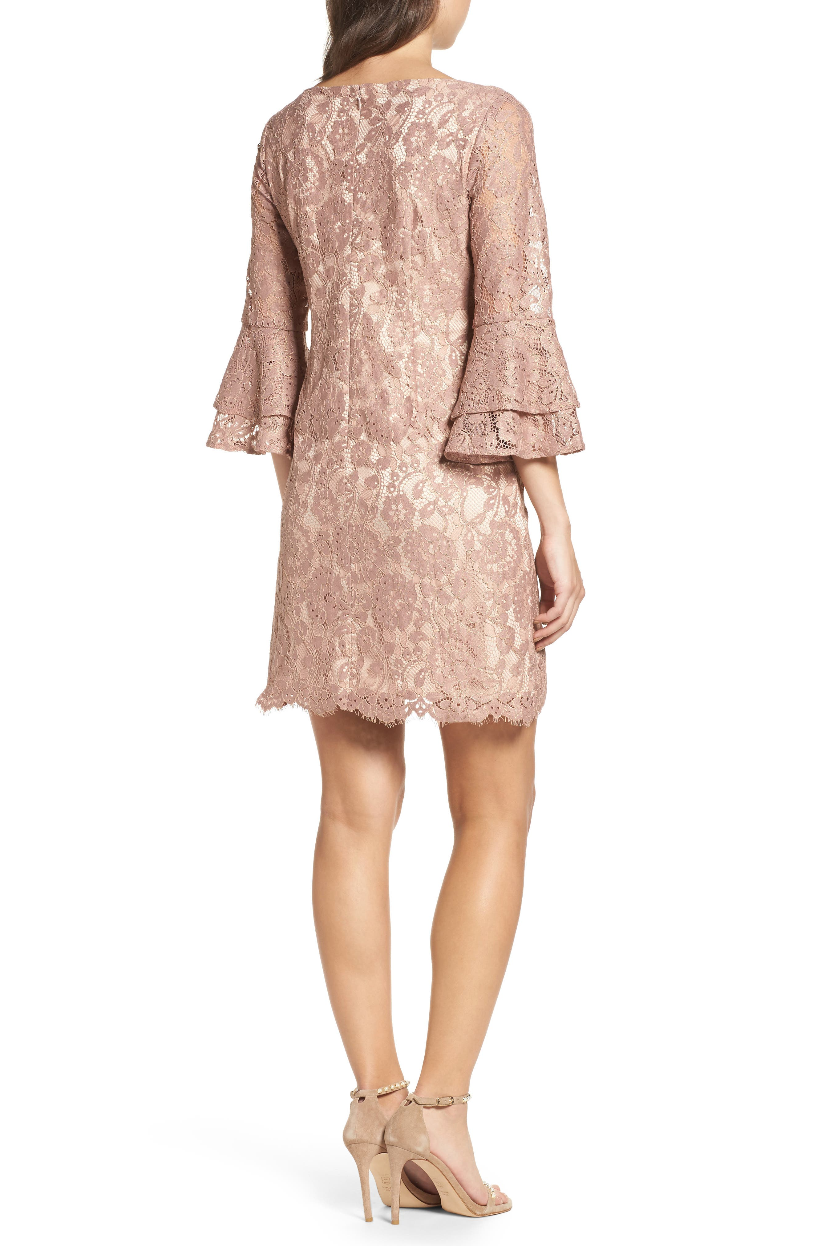 Lace Bell Sleeve Dress,                             Alternate thumbnail 2, color,                             684