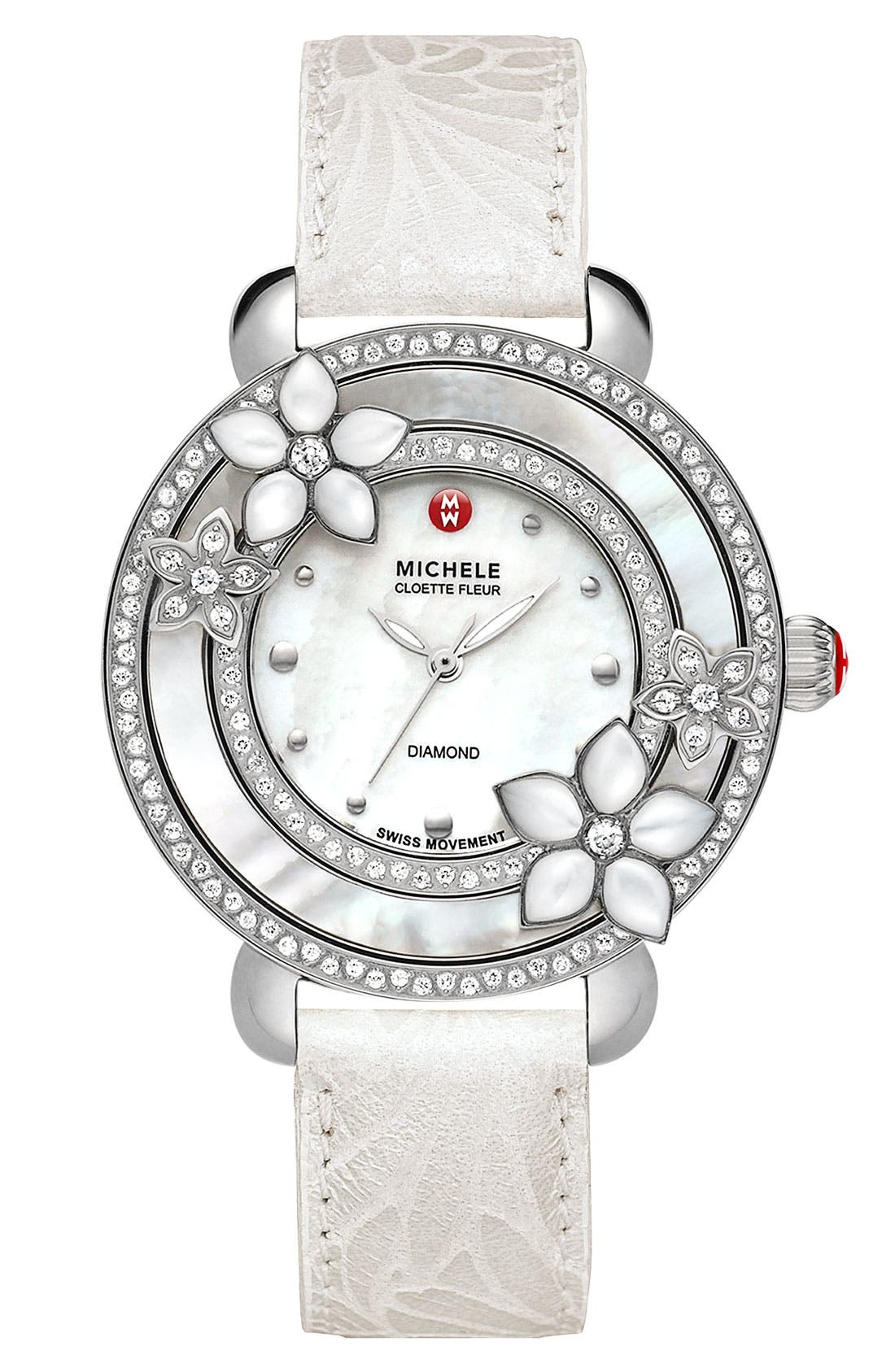 'Cloette Fleur' Diamond & Mother-of-Pearl Watch Case, 38mm,                             Alternate thumbnail 5, color,                             040