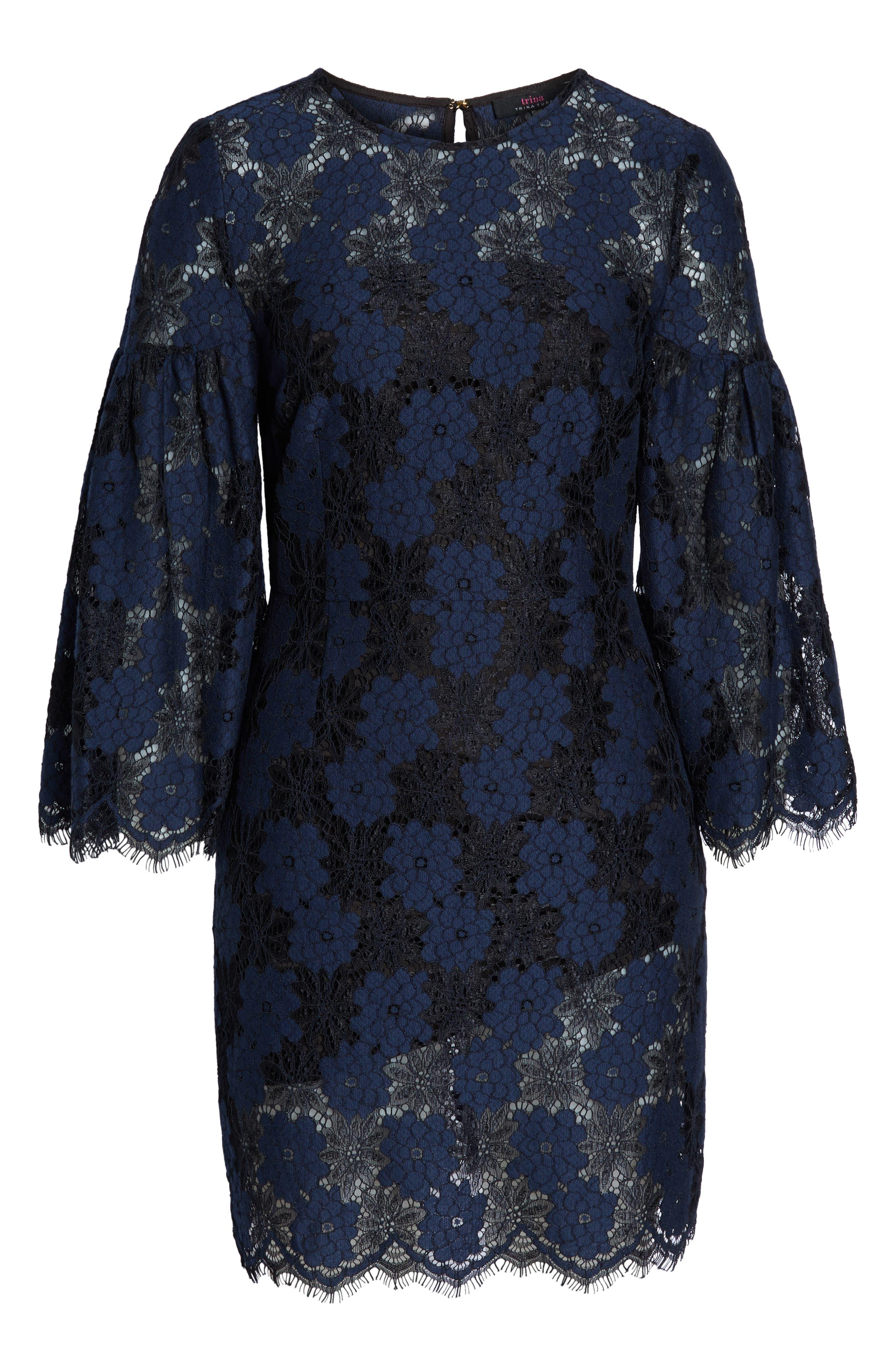Two-Tone Lace Shift Dress,                             Alternate thumbnail 6, color,                             BLACK/ BLUE FLOWER
