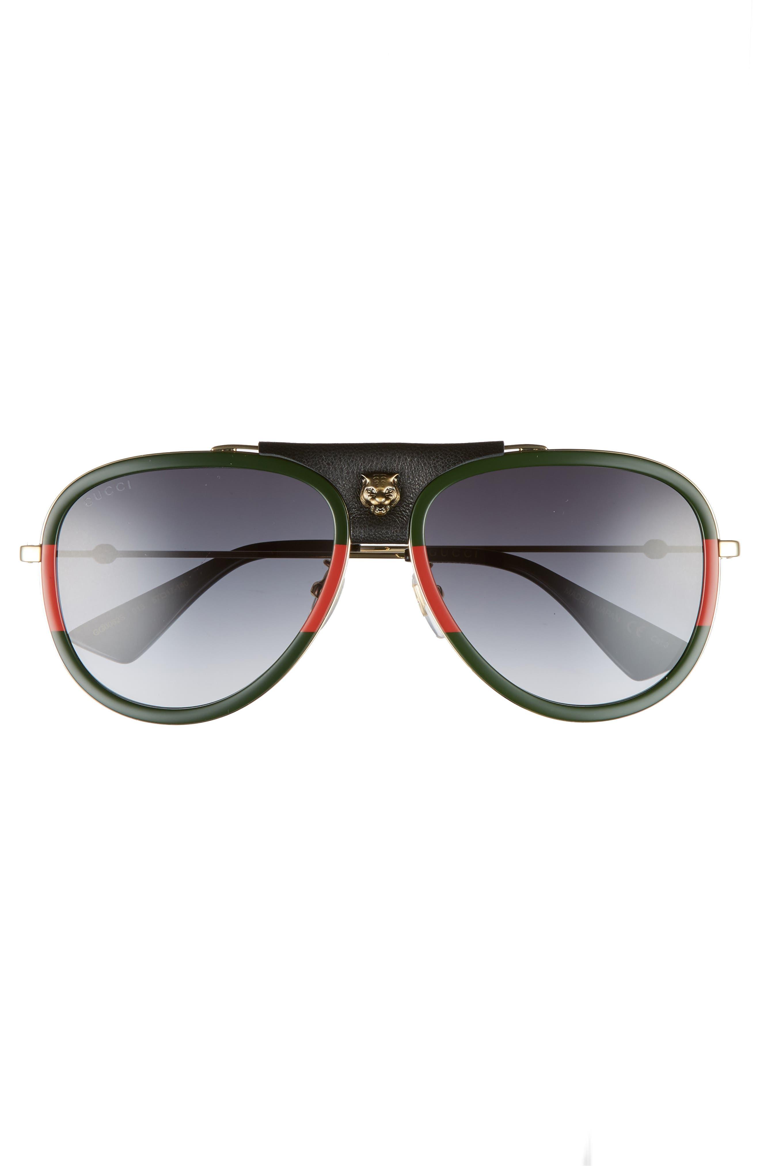 57mm Metal Aviator Sunglasses,                             Alternate thumbnail 3, color,                             GOLD
