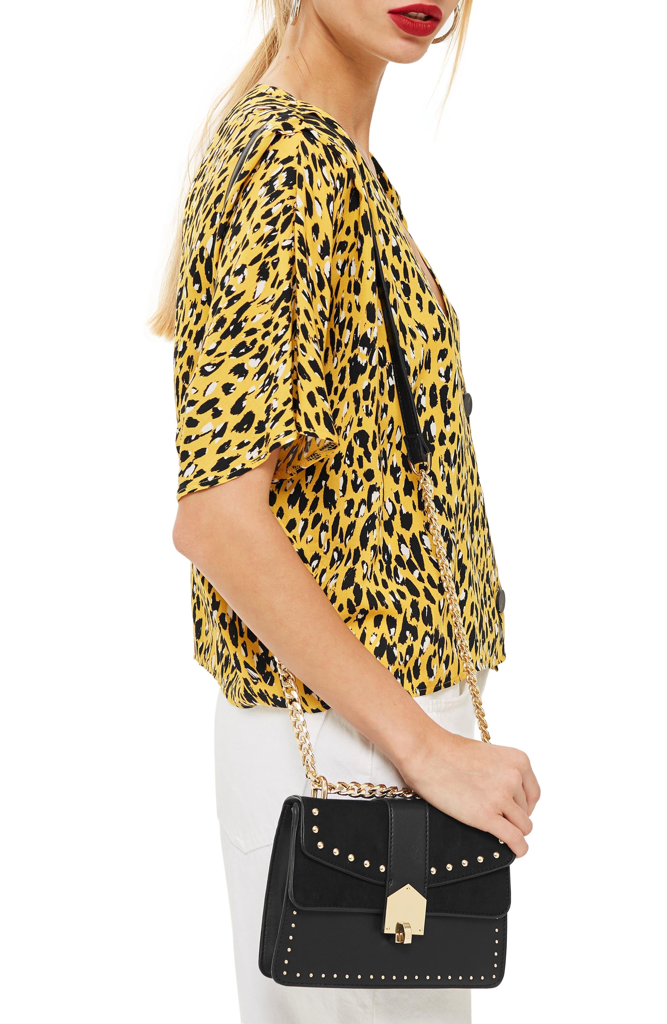 Shelby Stud Crossbody Bag,                             Alternate thumbnail 2, color,                             BLACK