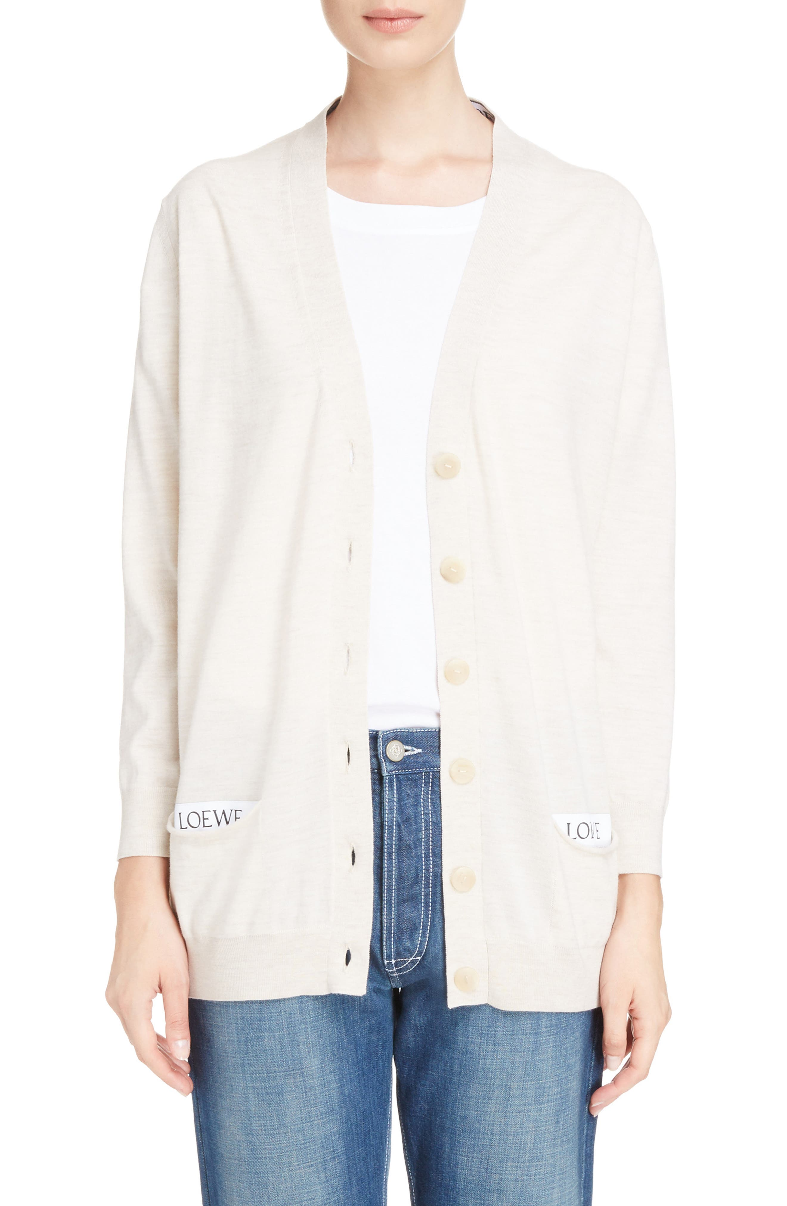 Logo Wool Blend Cardigan,                         Main,                         color, OFF WHITE