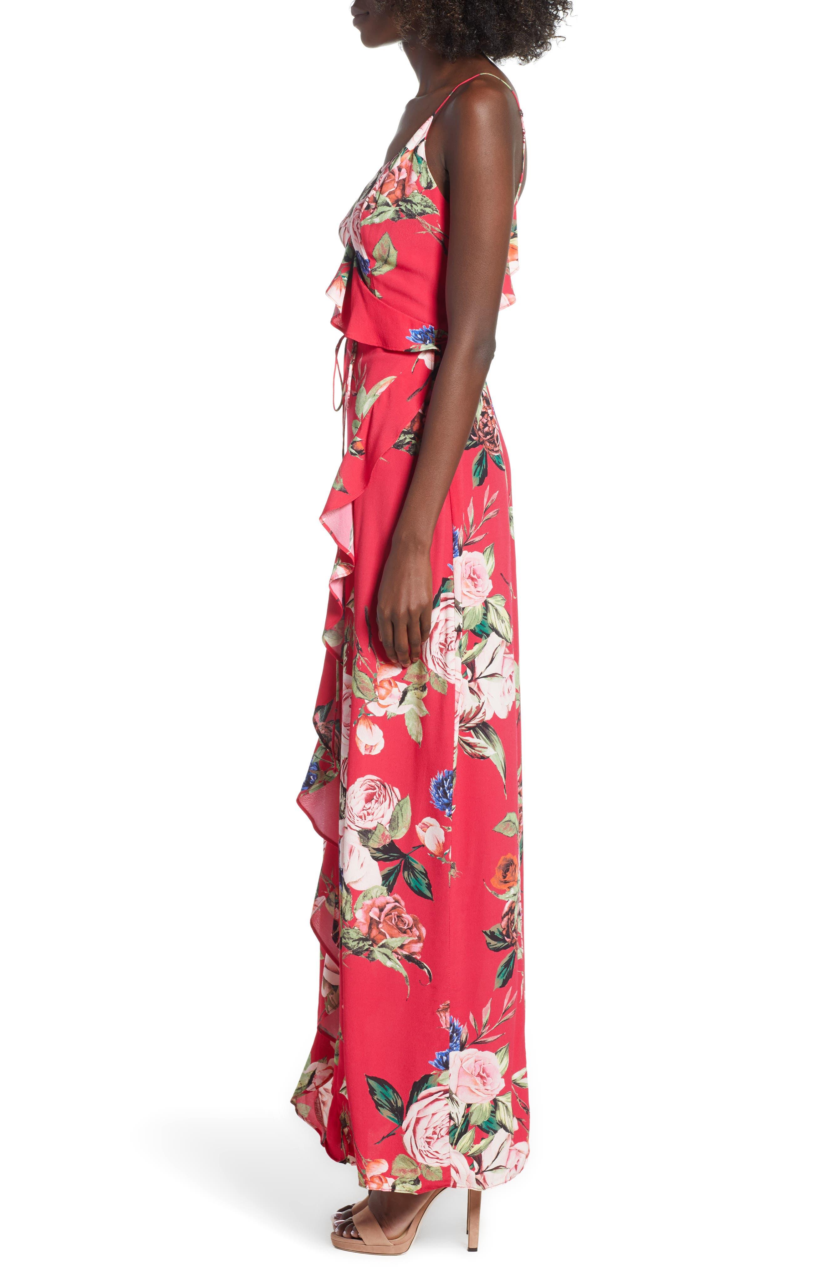 Bowen Wrap Maxi Dress,                             Alternate thumbnail 3, color,                             600